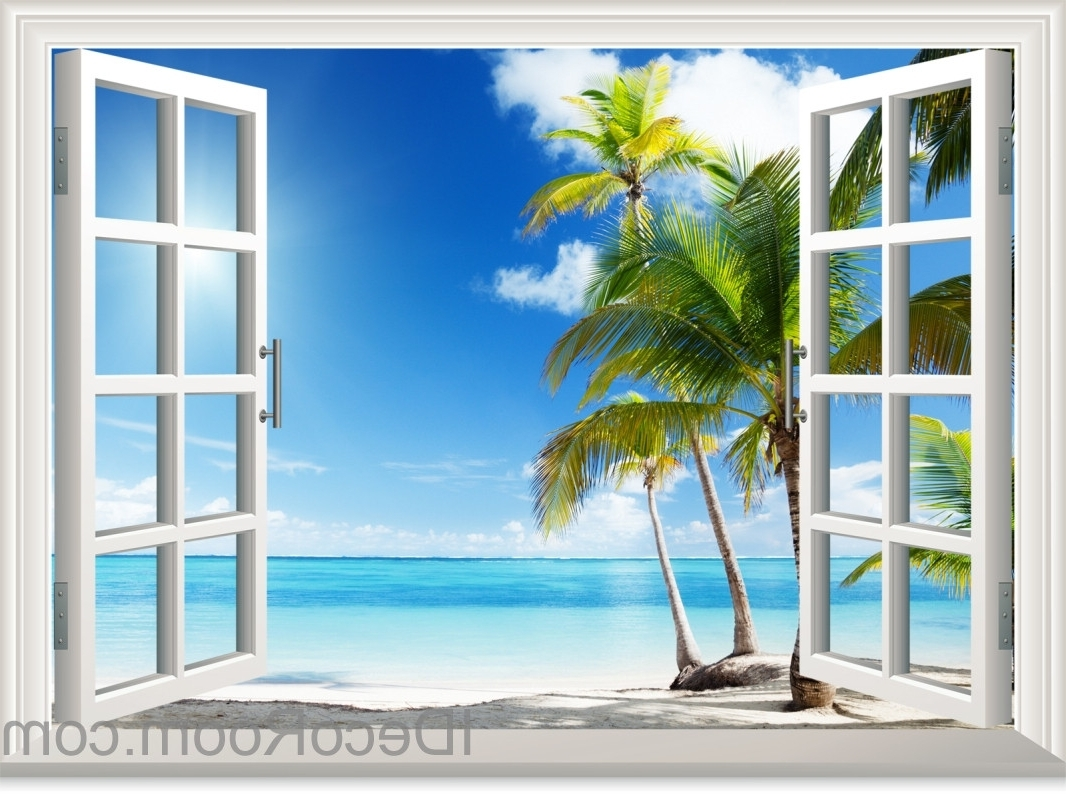 2018 3d Wall Art Window With Regard To Sunshine Coast Palm Tree Cloud 3d Window View Removable Wall (View 10 of 15)