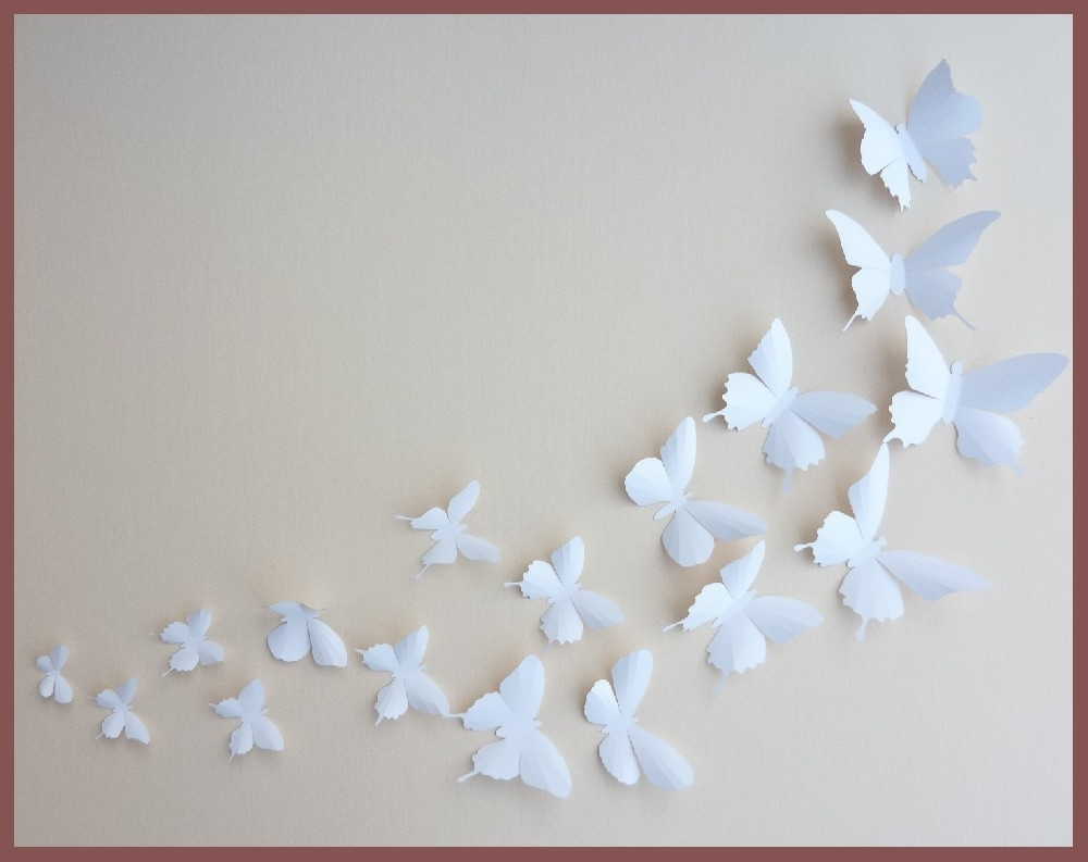 2018 3D Wall Butterflies 30 White Butterfly Silhouettesbugsloft With Regard To 3D Wall Art For Baby Nursery (View 3 of 15)