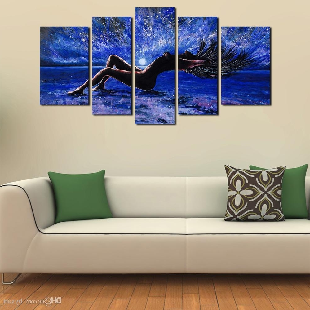 2018 5 Panels Sexy Girl Abstract Canvas Wall Art Women Naked Within Famous Abstract Canvas Wall Art (View 1 of 15)