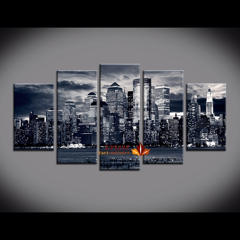 2018 5 Piece Painting New York City Buildings On Canvas From Oil In New York City Canvas Wall Art (View 1 of 15)