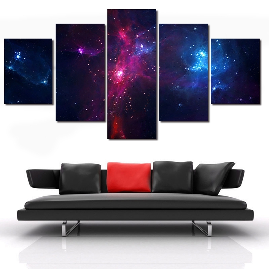 2018 5 Piece/set Canvas Art Painting Galaxy Planet Universe Painting Intended For Five Piece Wall Art (View 2 of 15)