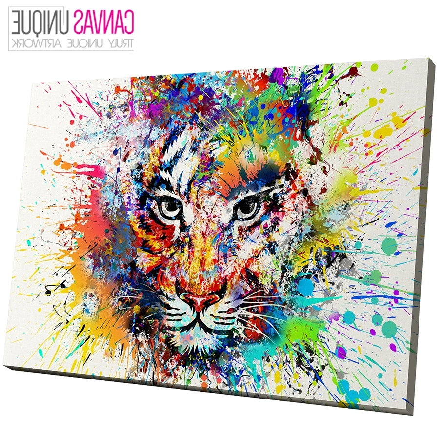 2018 A723 Multicolor Tiger Abstract Animal Canvas Wall Art Framed Throughout Animal Canvas Wall Art (View 1 of 15)
