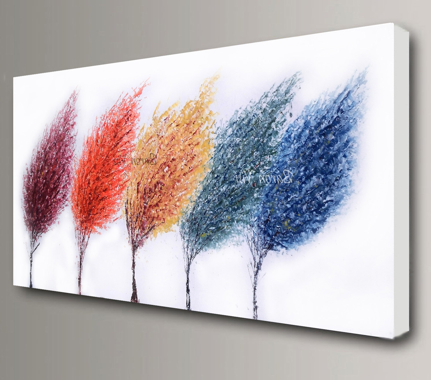 2018 Abstract Painting Acrylic Multi Colour Trees Art Original Large Throughout Abstract Office Wall Art (View 1 of 15)