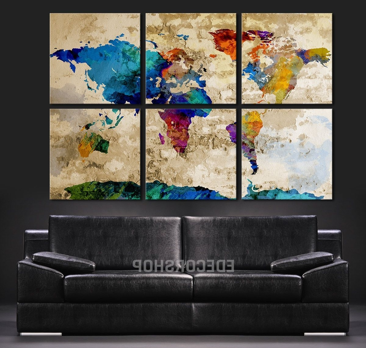 2018 Abstract Wall Art Canvas Within Colorful World Map Art Canvas Print – Watercolor World Map 6 Piece (View 12 of 15)