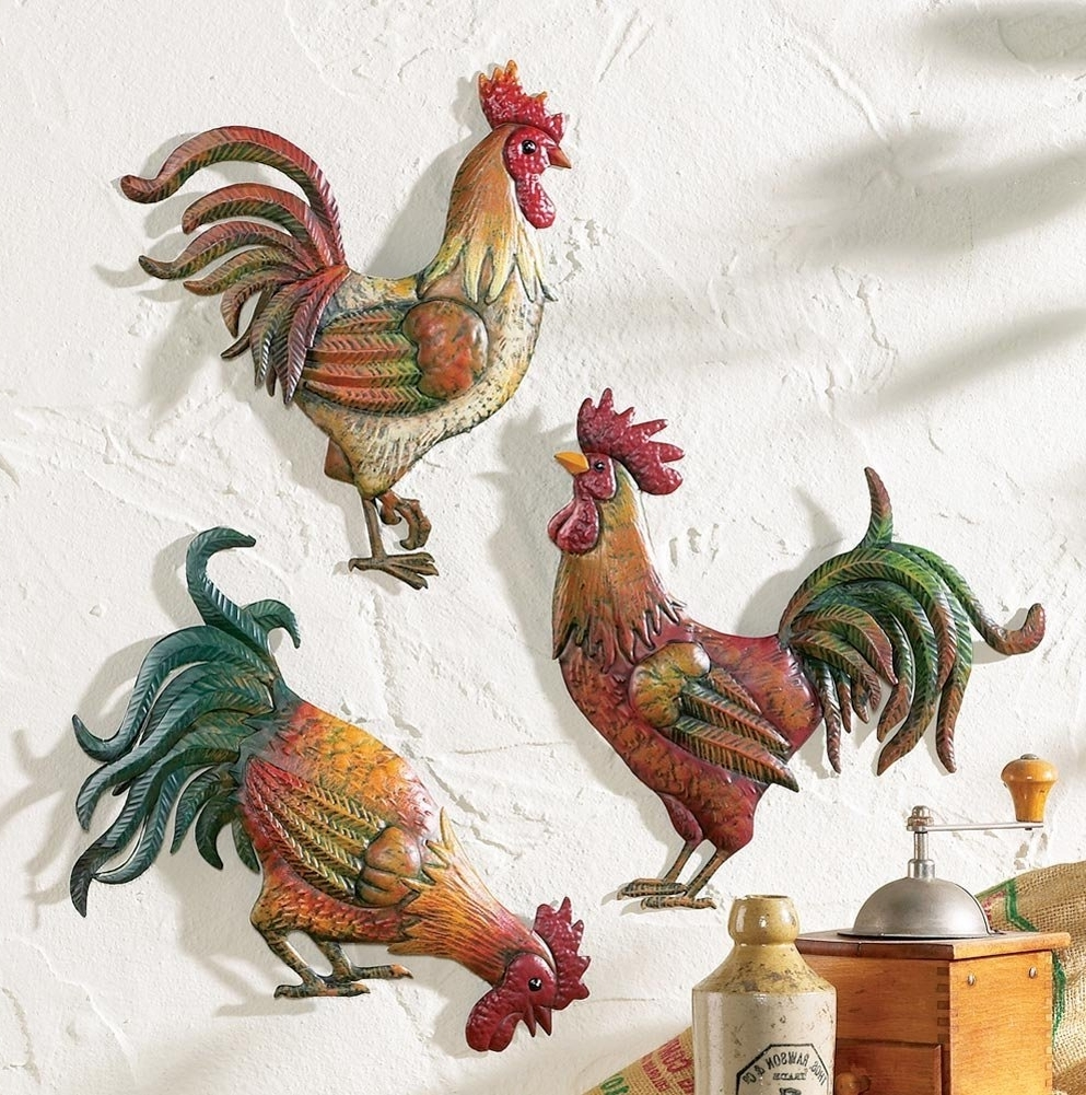 2018 Amazon: Premium Metal French Country Rooster Wall Art Trio In Metal Rooster Wall Decor (View 1 of 15)