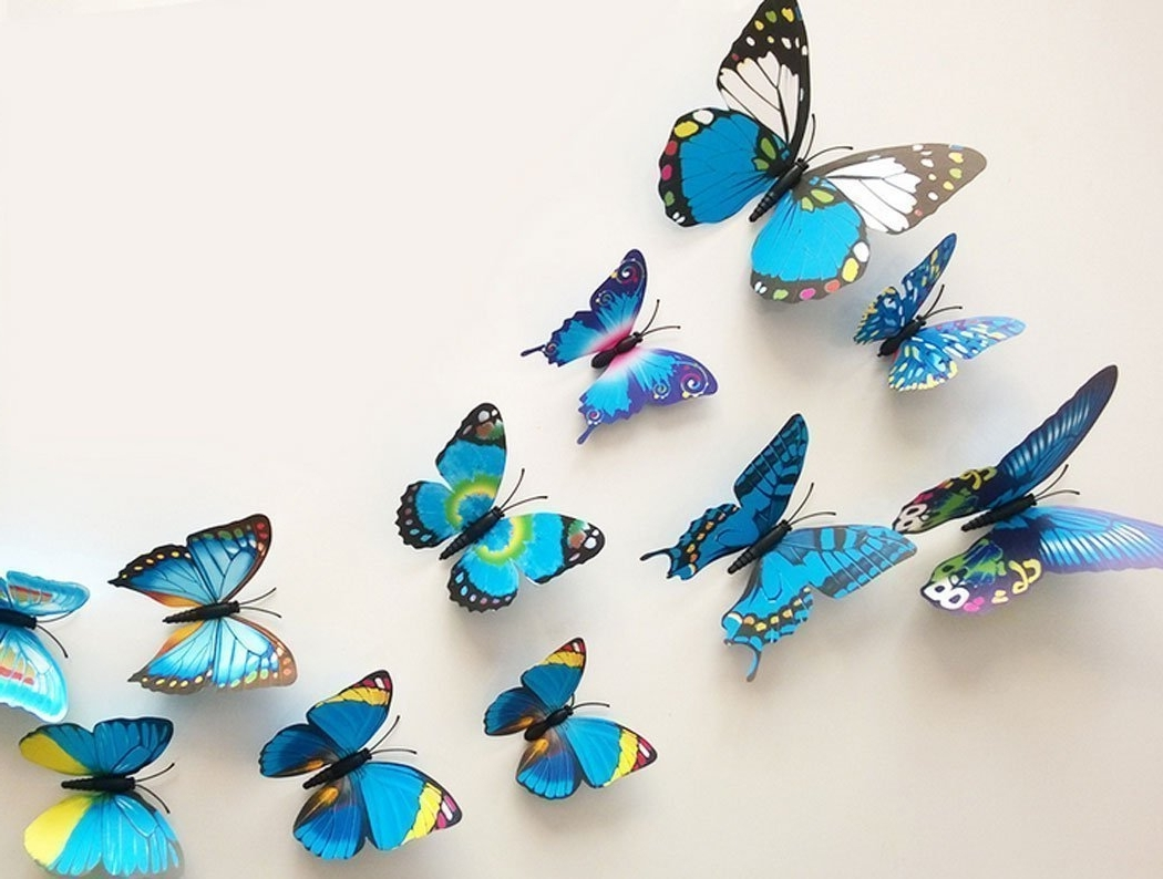 2018 Amazon: Raylinedo 3D Butterfly 12Pcs For Blue And 12 Pcs For Pertaining To Butterflies 3D Wall Art (View 3 of 15)