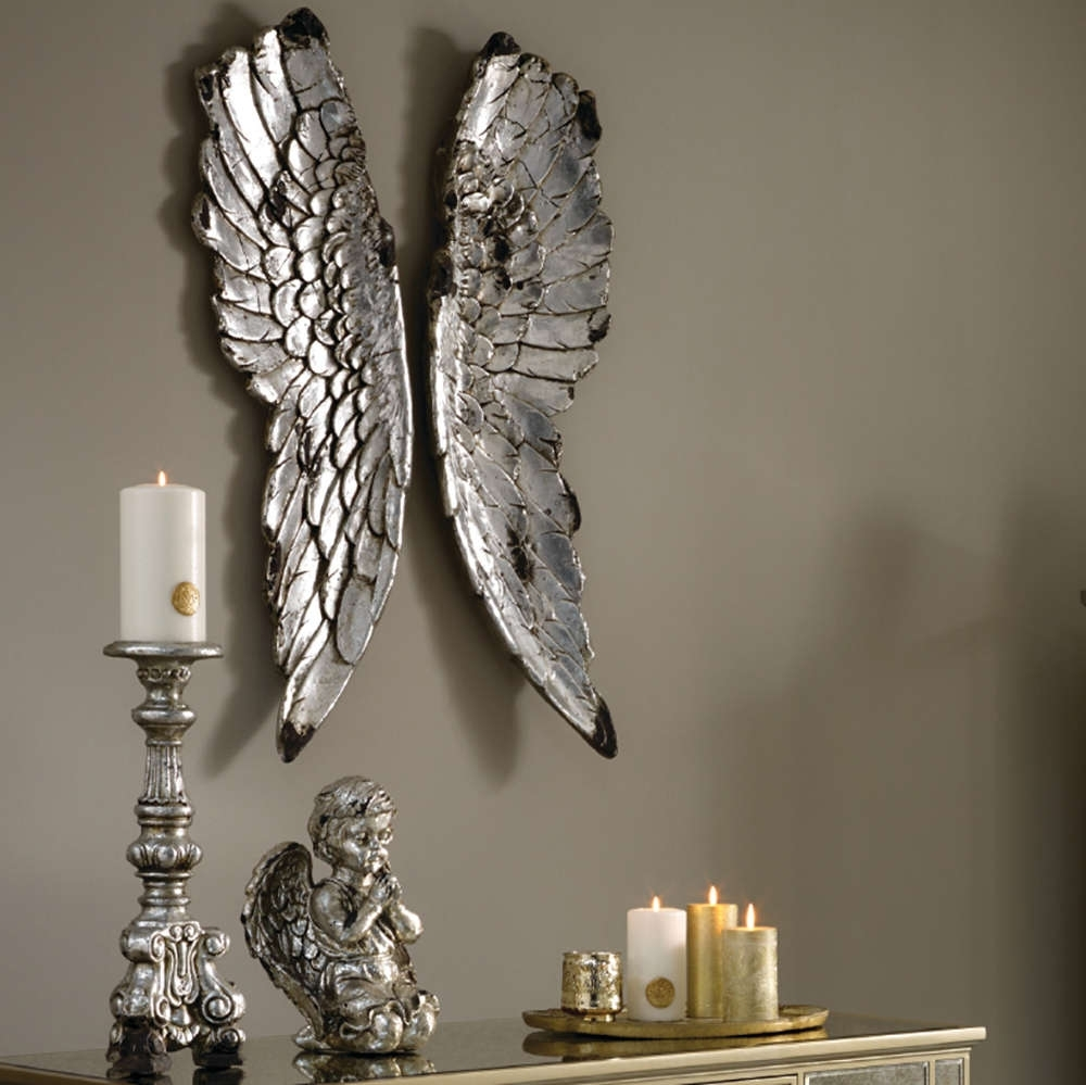 2018 Angel Wings Sculpture Plaque Wall Art For Large Silver Angel Wings For Wallangel Wings Wall Art  Candle And Blue (View 1 of 15)