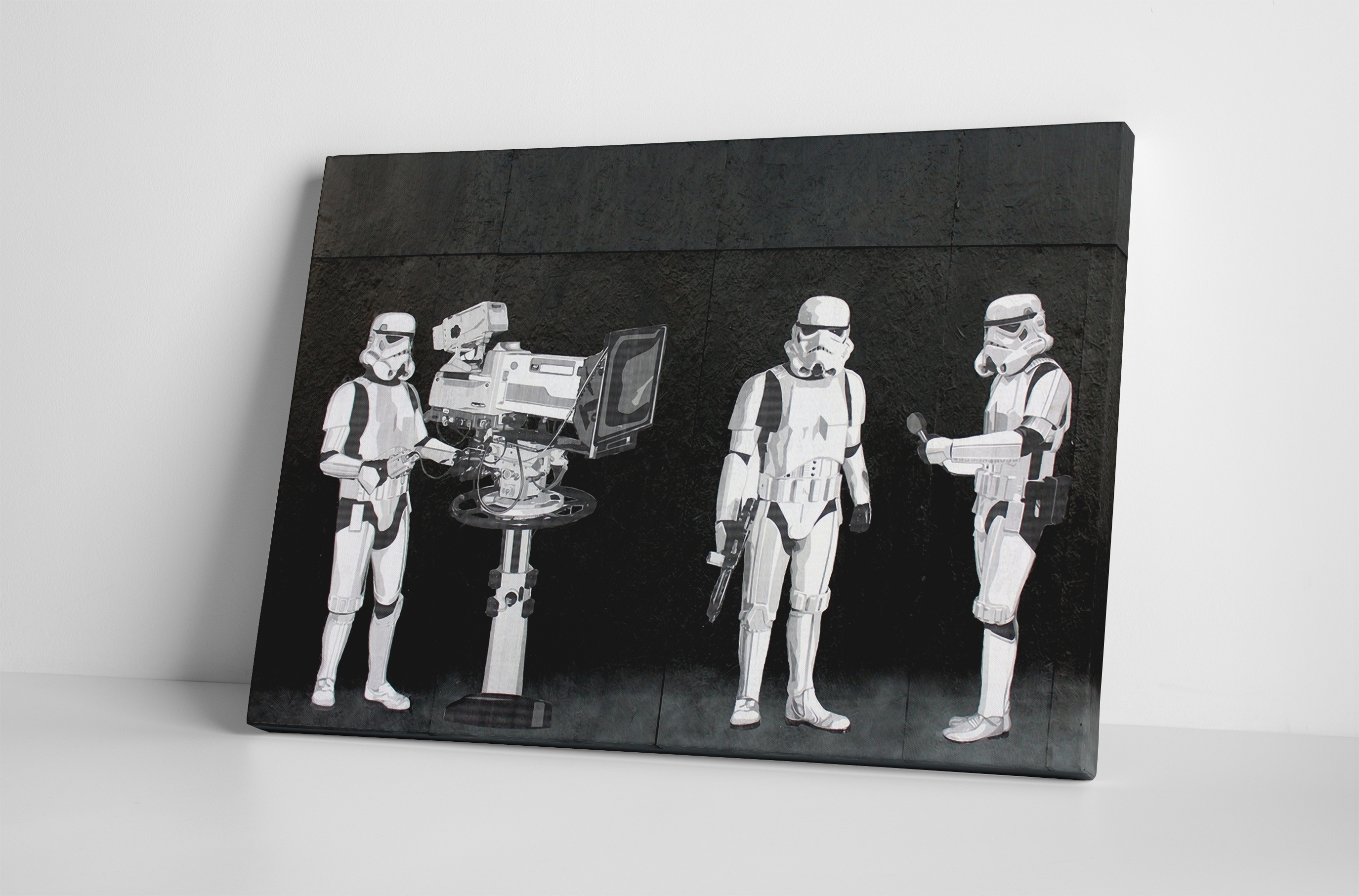 2018 Banksy Stormtroopers Filming Oscars Canvas Wall Art Throughout Banksy Wall Art Canvas (View 1 of 15)