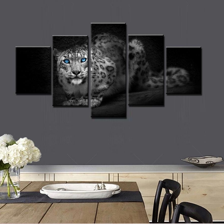 2018 Beautiful & Cool Leopard Panthera Onca Blue Eyes Oil Animal With Most Popular 3D Wall Art Wholesale (View 2 of 15)