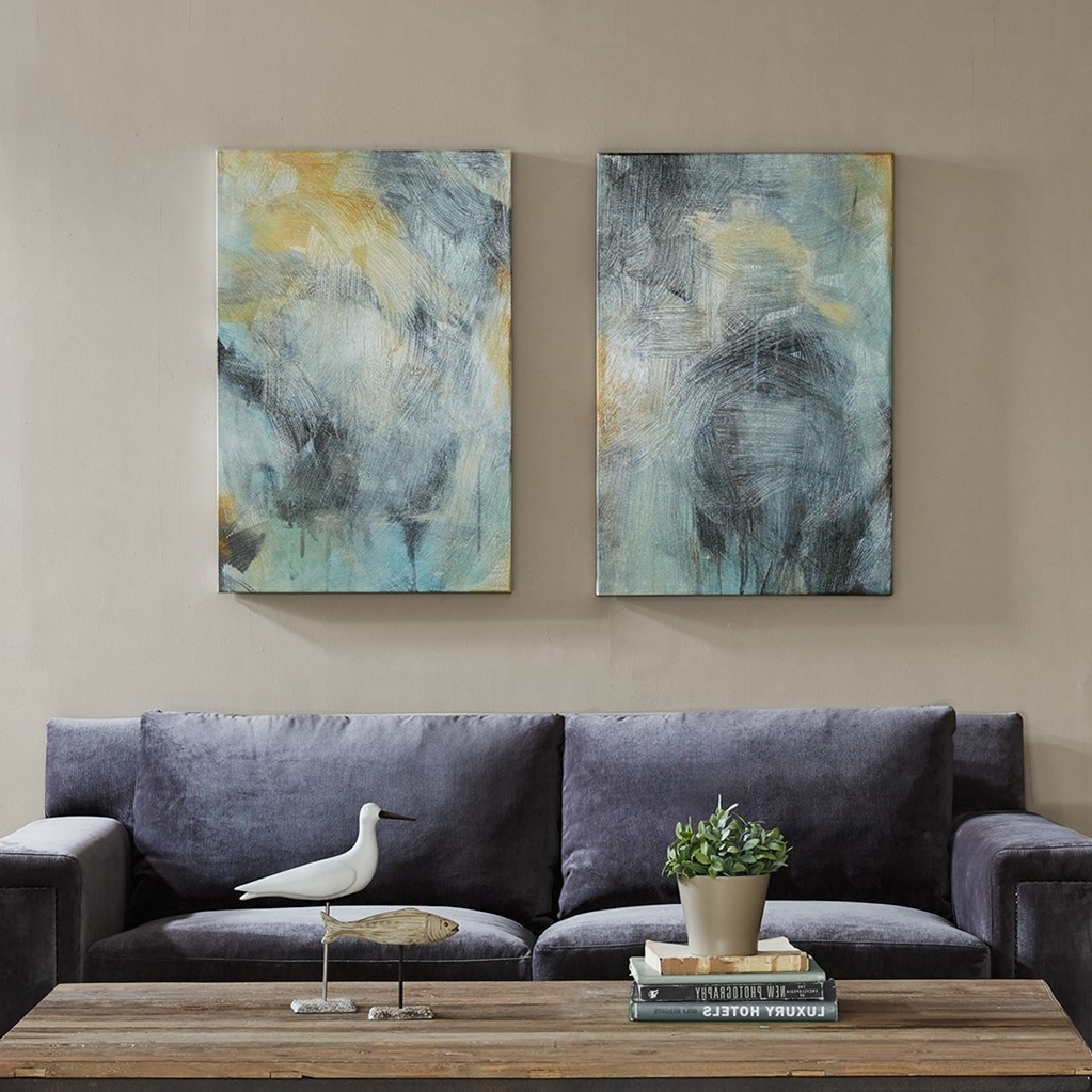 2018 Blue & Gold Abstract Wave Wall Art – Set Of 3 Inside Grey Abstract Canvas Wall Art (View 11 of 15)