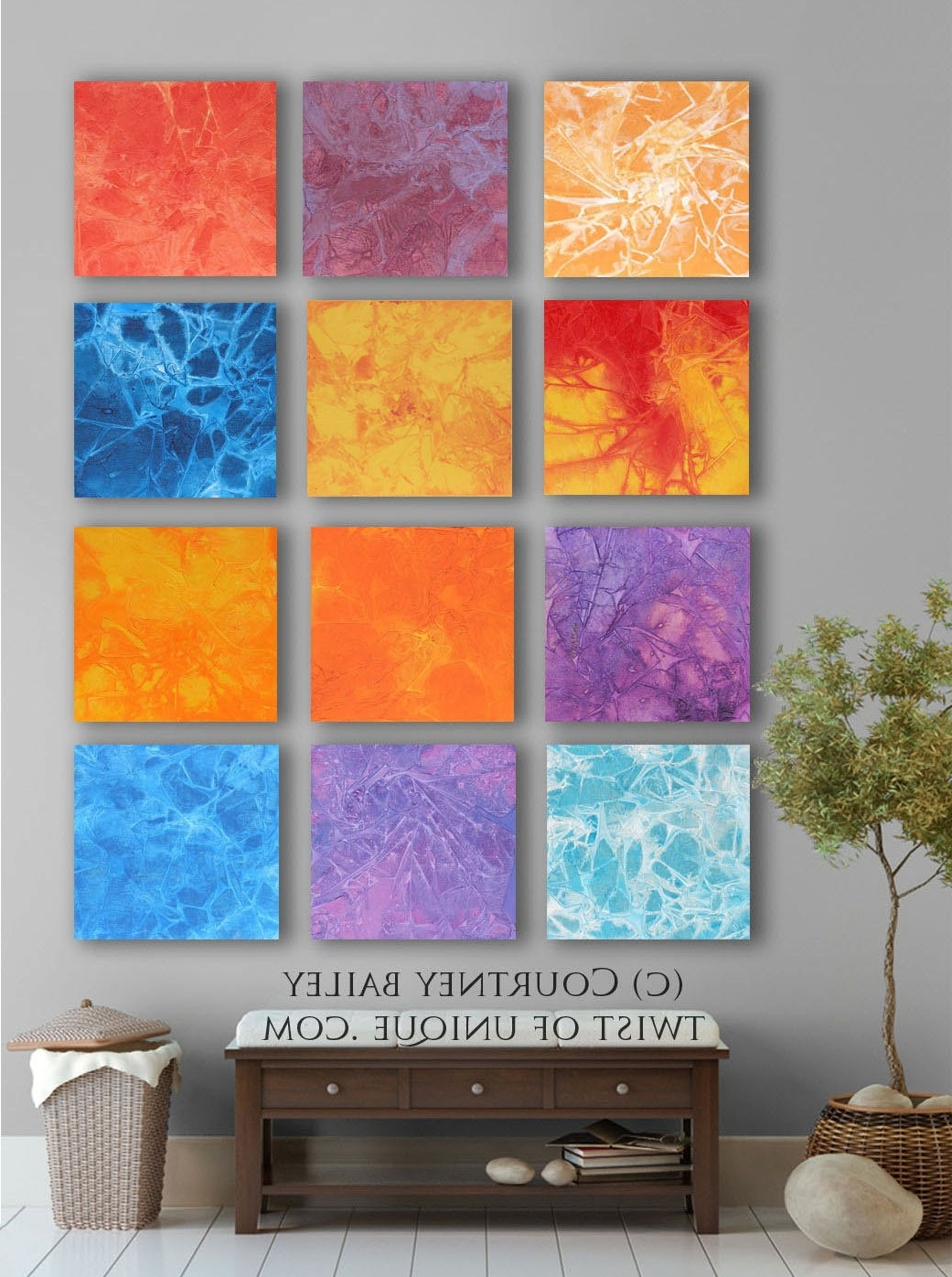2018 Bold Custom Abstract Painting, 12 Square Modern Abstract Wall Art In Bold Abstract Wall Art (View 2 of 15)