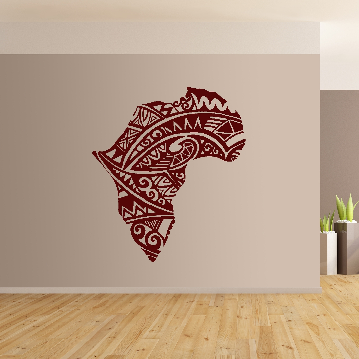 2018 Burgundy Wall Art Within African Continent Wall Art Giant Sticker Mural Graphic Modern (View 5 of 15)