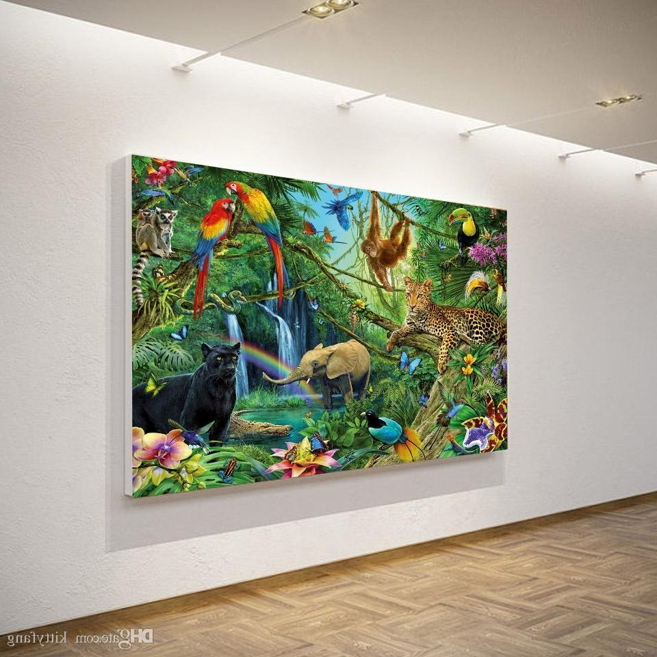 2018 Canvas Art Canvas Painting Animals Kingdom Jungle Hd Print With Regard To Fashionable Jungle Canvas Wall Art (View 1 of 15)