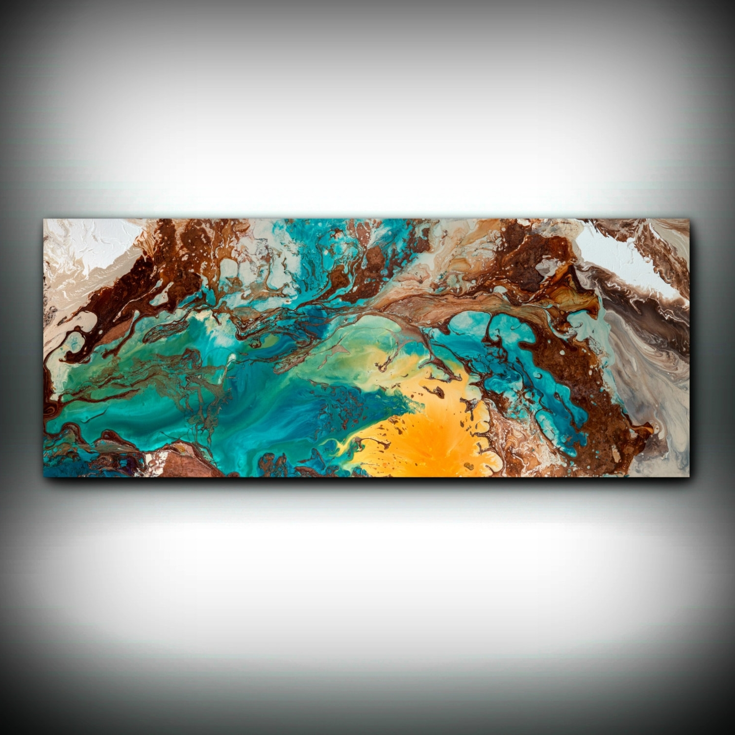 2018 Canvas Wall Decor Large Abstract Wall Art Print Blue Brown Modern Within Teal And Brown Wall Art (View 1 of 15)