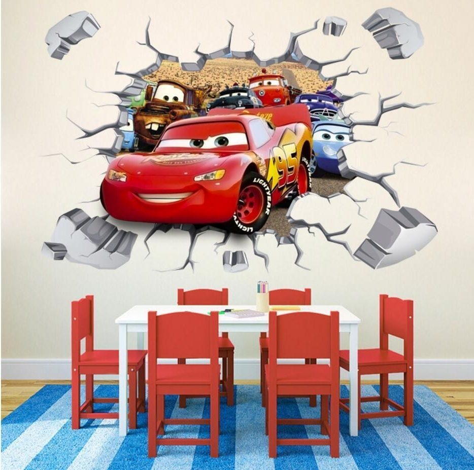 2018 Cars 3D Wall Art Throughout Disney 3D Cars Mcqueen Mater Removable Wall Stickers Decal Kids (View 4 of 15)