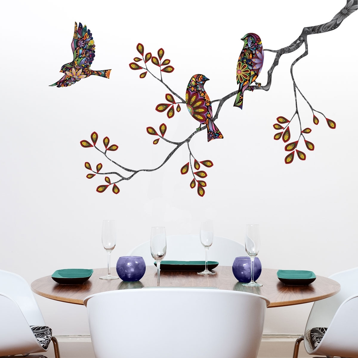 2018 Ceramic Bird Wall Art Regarding Wall Art Designs: Bird Wall Art Birds And Tree Branch Wall Sticker (View 2 of 15)