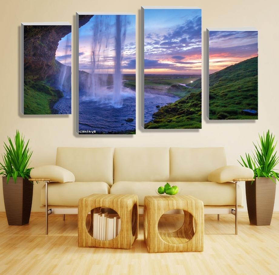 2018 Cheap Contemporary Wall Art Regarding 4 Pieces Set Unframed Modular Waterfall Wall Art Painting Iceland (View 2 of 15)