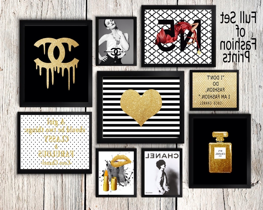 2018 Coco Chanel Quotes Framed Wall Art With Regard To Coco Chanel Wall Art Set, Coco Chanel Prints, Coco Chanel Perfume (View 8 of 15)