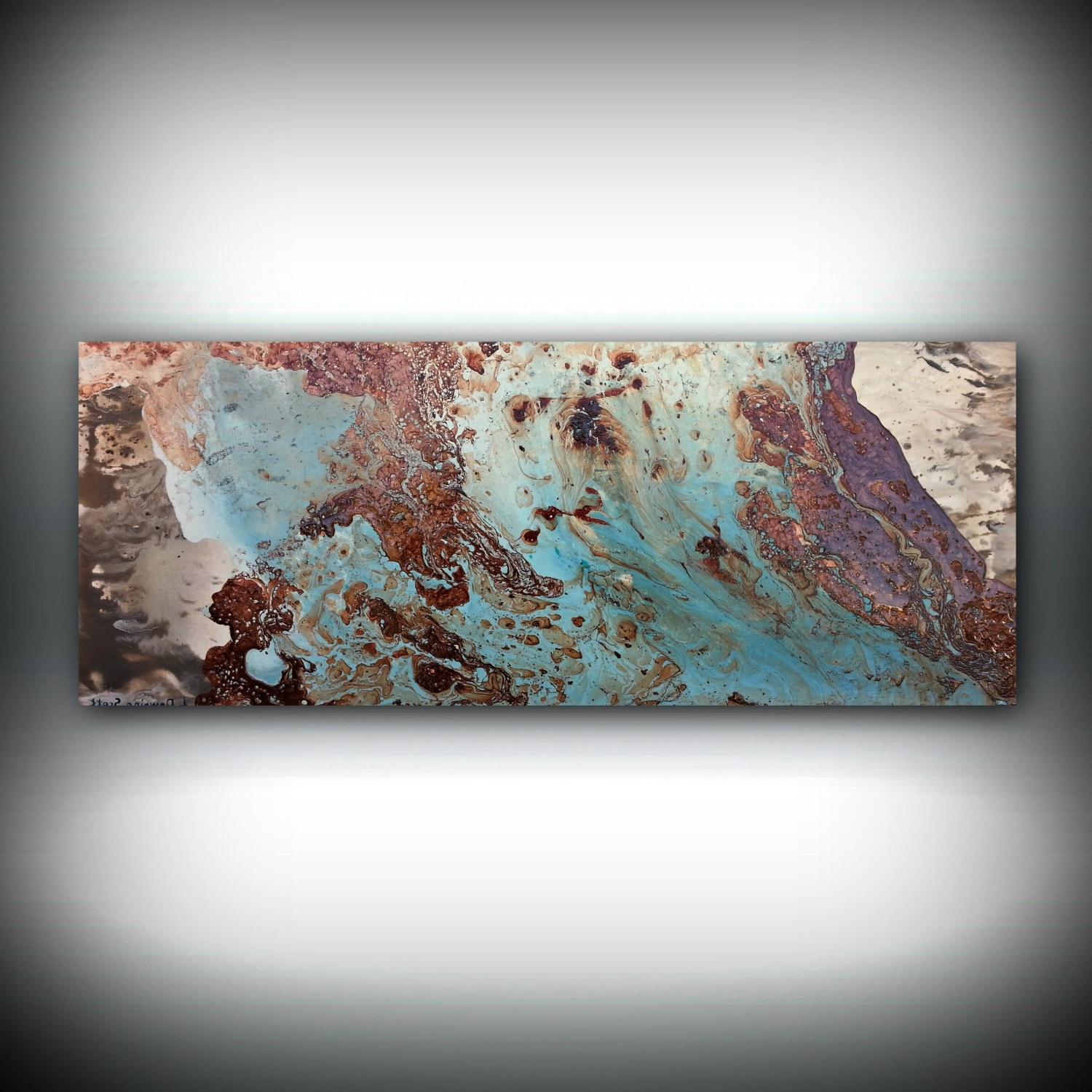 2018 Copper Coastal Painting 16 X 40, Acrylic Painting On Canvas Within Abstract Copper Wall Art (View 1 of 15)