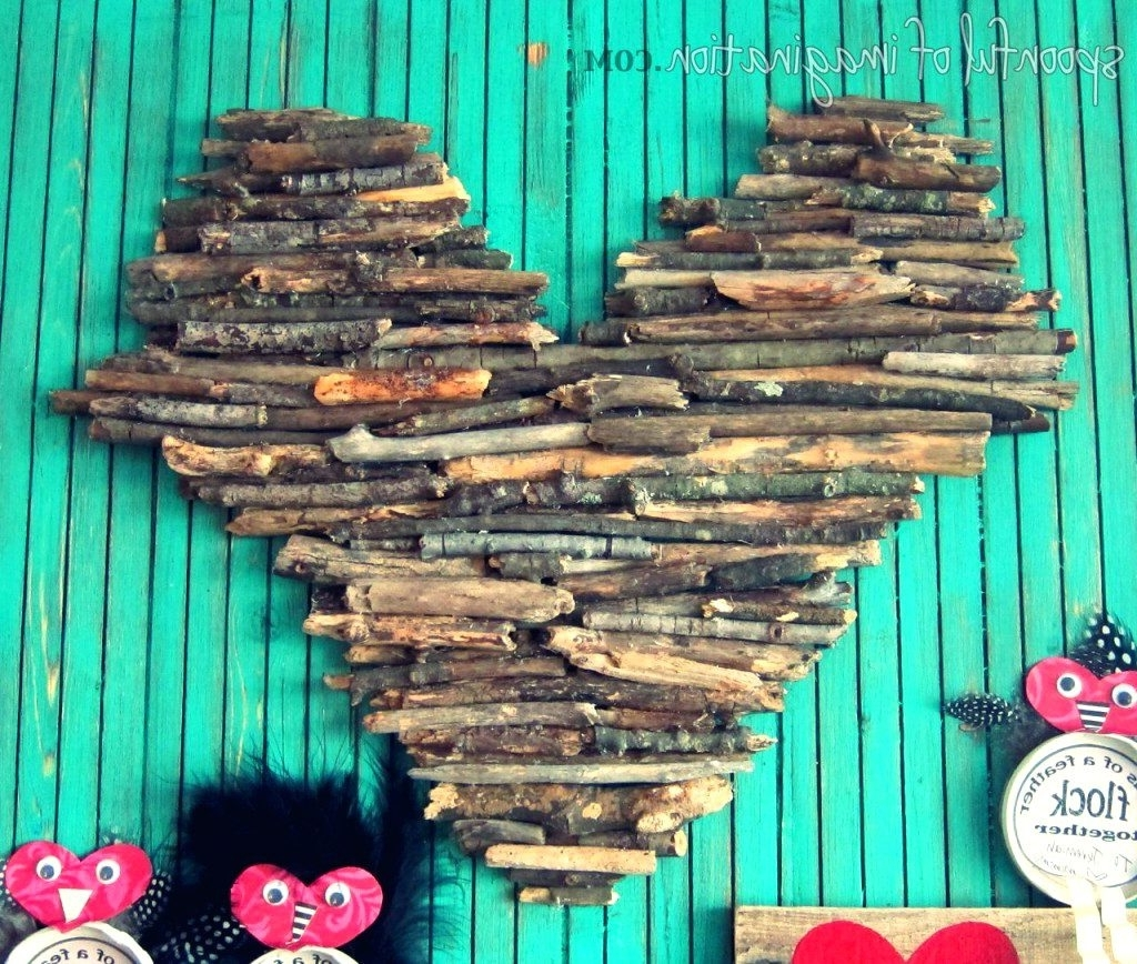 2018 Driftwood Heart Wall Art Pertaining To Wall Arts ~ Yellow Heart Wood Wall Art Wood Stick Heart Wooden (View 1 of 15)