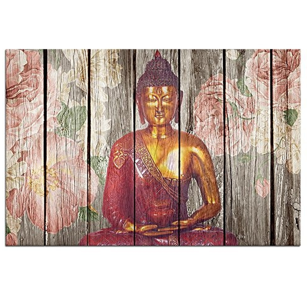 2018 Favorite Abstract 3 Panel Canvas Wall Art Buddha Abstract Oil For Buddha Wooden Wall Art (View 1 of 15)