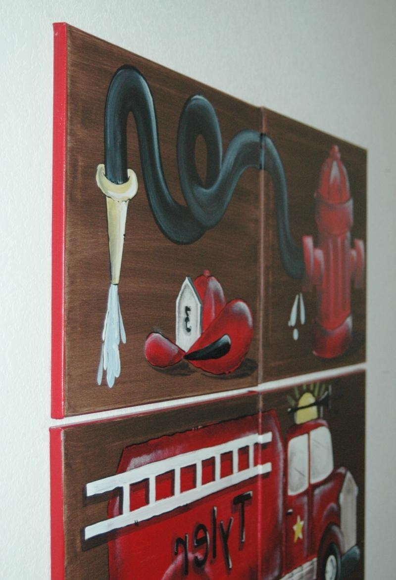 2018 Fire Truck Wall Art Inside Austinartworks – Fire Truck Artfor Kid's Rooms (View 2 of 15)