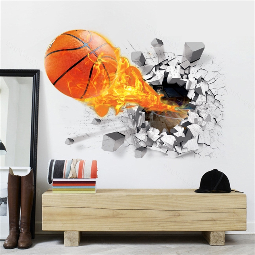 2018 Football 3D Wall Art Pertaining To 7 Types Decal Removable Green 3D Wall Sticker Wall Art For (View 3 of 15)