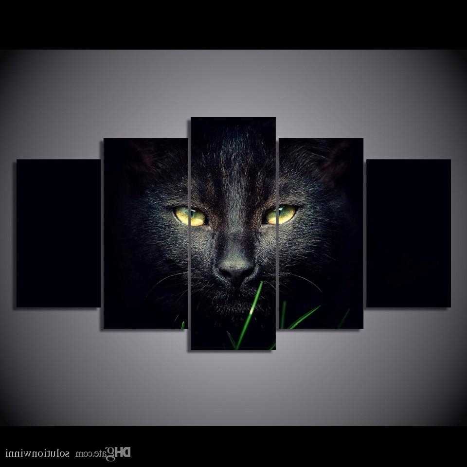 2018 Framed Hd Printed Black Cat Animal Wall Art Canvas Print Throughout Popular Animal Canvas Wall Art (View 2 of 15)