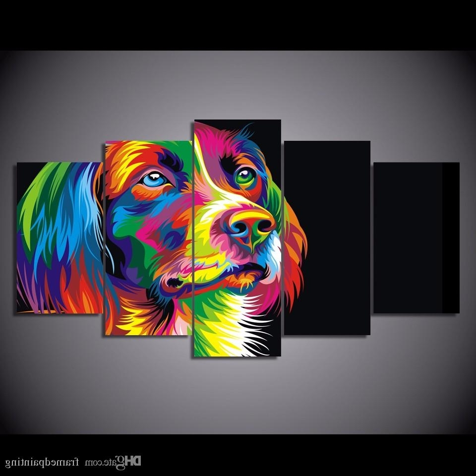 2018 Framed Hd Printed Colorful Dog Design Picture Wall Art Canvas Intended For Most Recently Released Abstract Dog Wall Art (View 14 of 15)