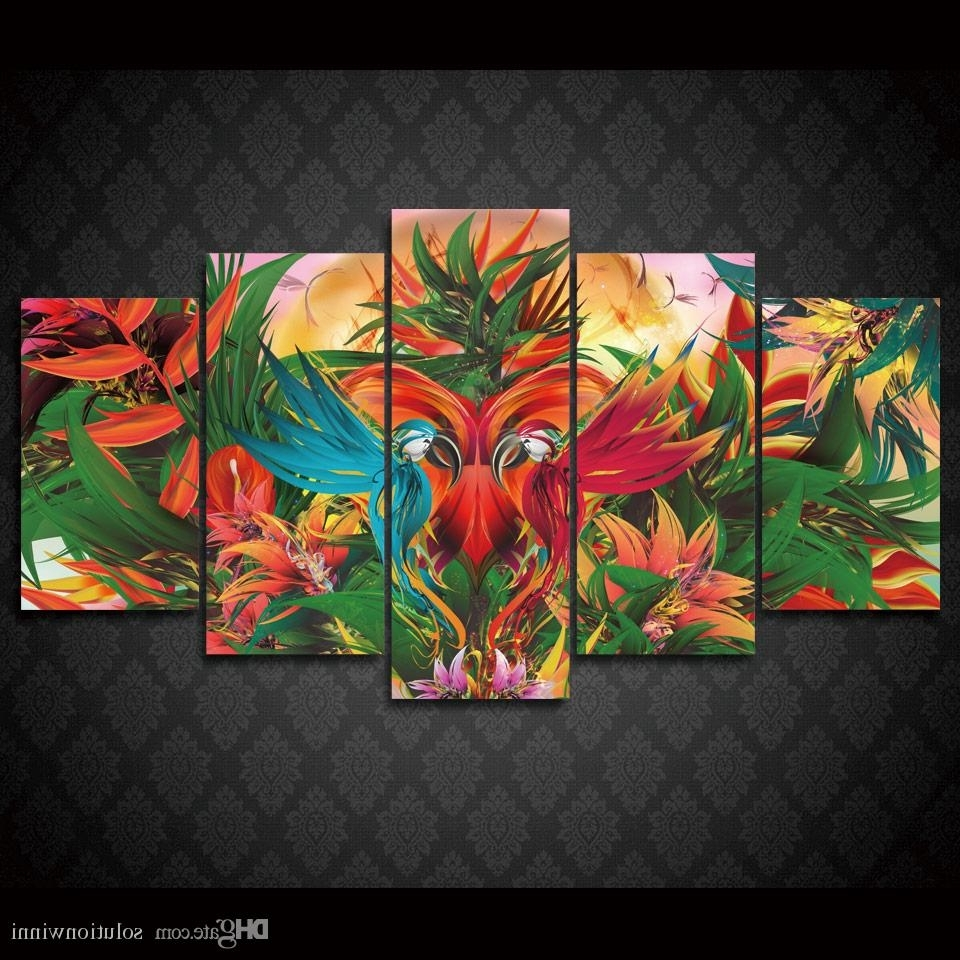 2018 Framed Hd Printed Jungle Birds Abstract Wall Art Canvas Print With 2018 Jungle Canvas Wall Art (View 2 of 15)