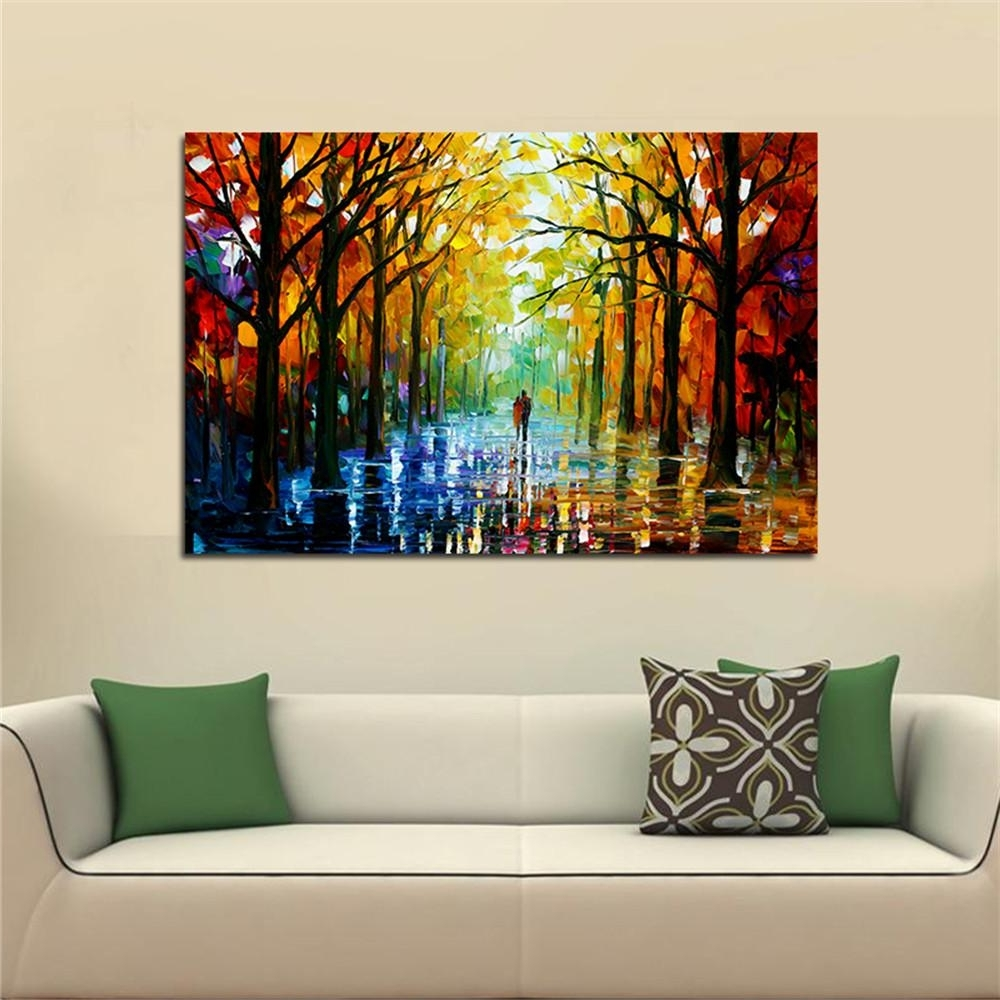 2018 Frameless Huge Wall Art Oil Painting On Canvas Forest Road Intended For Most Recently Released Huge Wall Art (View 2 of 15)