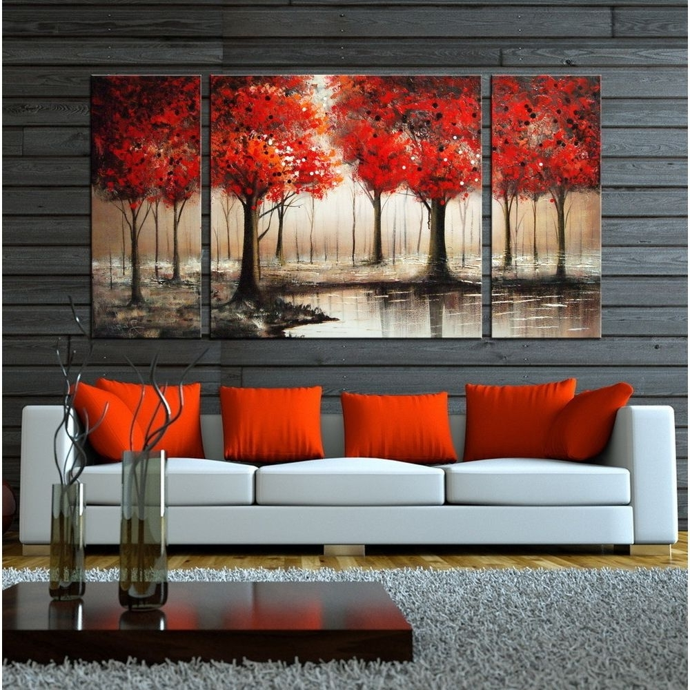 2018 Hand Painted 'through The Trees' 3 Piece Gallery Wrapped Art Set Regarding Canvas Wall Art 3 Piece Sets (View 10 of 15)
