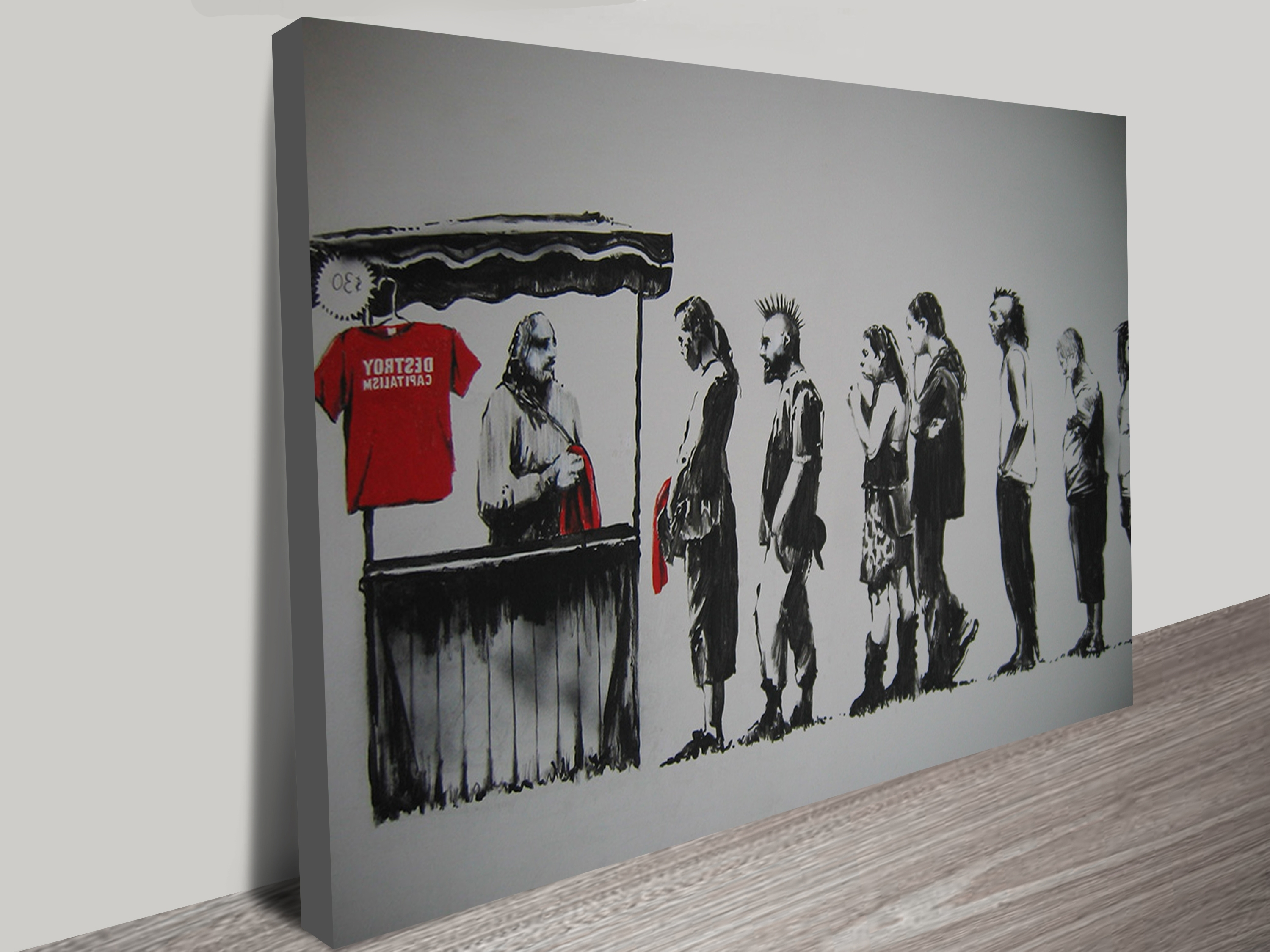 2018 Large Abstract Wall Art Australia Pertaining To Banksy Destroy Capitalism T Shirts Wall Art Print (View 14 of 15)