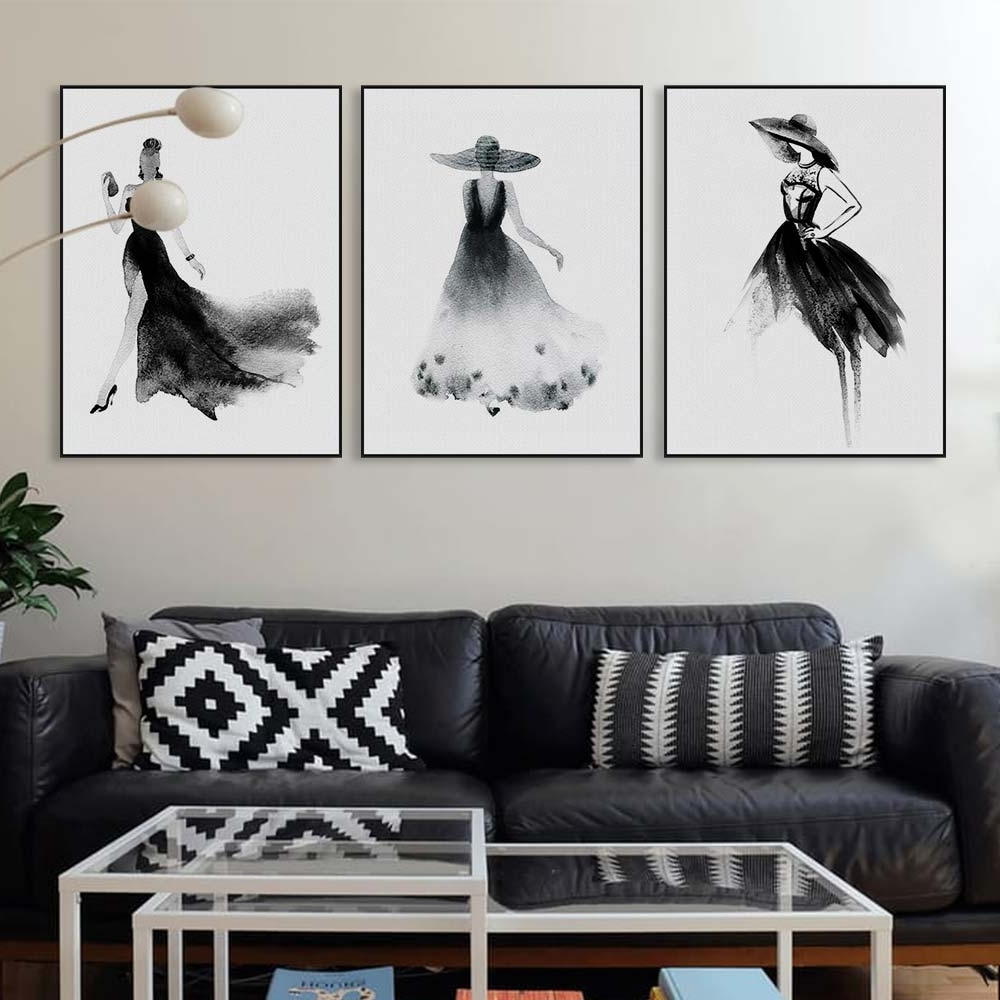 2018 Large Black And White Wall Art In Black White Fashion Model Chinese Ink Painting Modern Large Canvas (View 3 of 15)