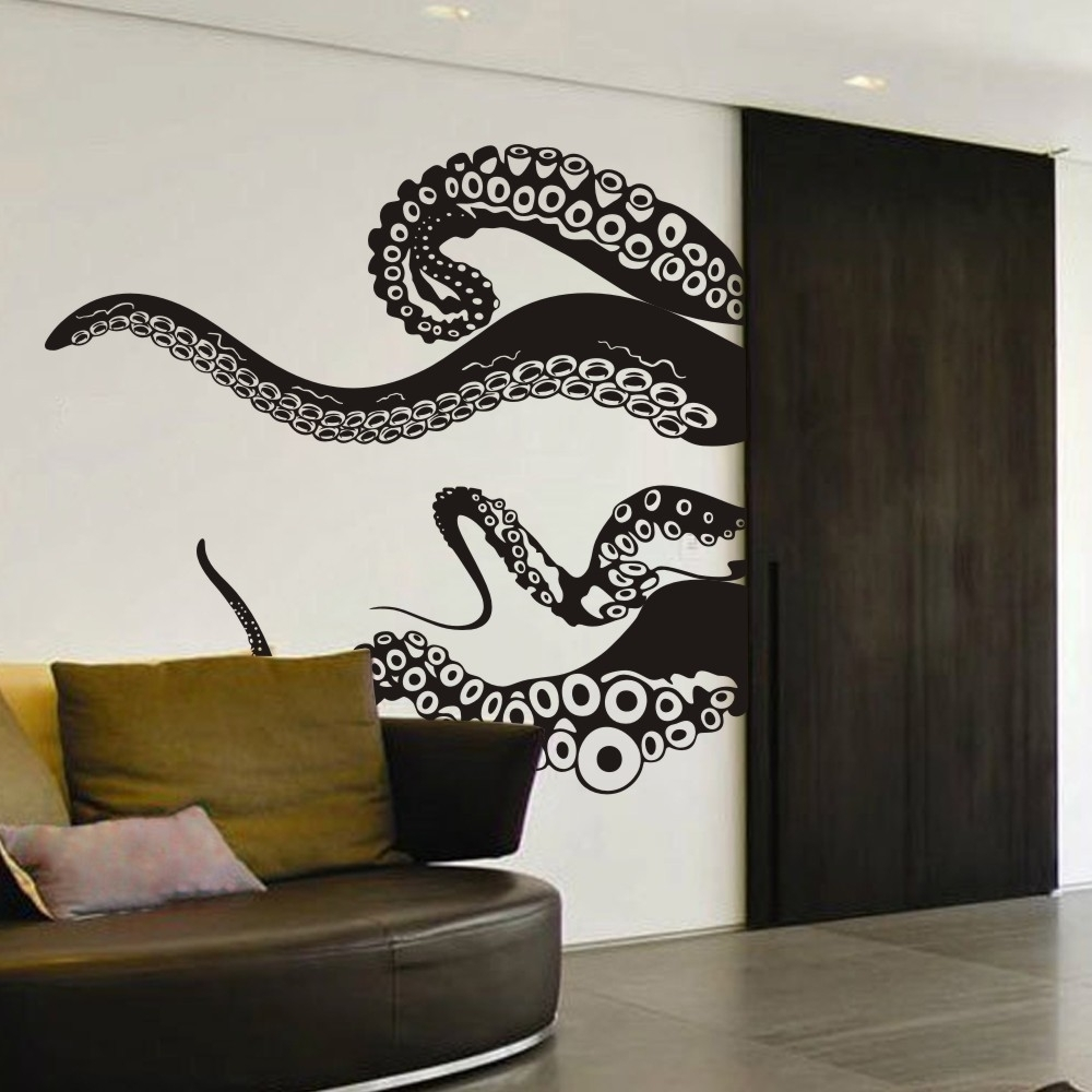 2018 Large Size Kraken Octopus Tentacles Vinyl Wall Decal Home Throughout Octopus Tentacle Wall Art (View 1 of 15)