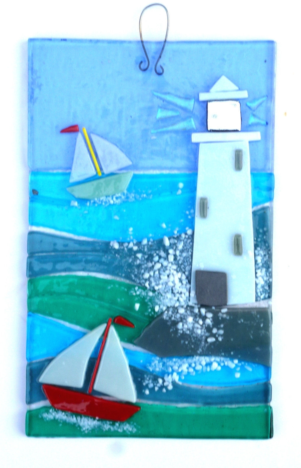 2018 Lighthouse, Original Fused Glass Wall Art In Pottery, Porcelain Pertaining To Kiln Fused Glass Wall Art (View 1 of 15)