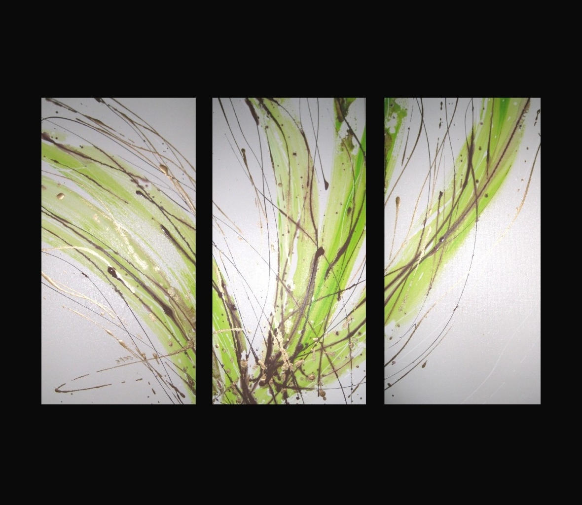 2018 Lime Green Abstract Wall Art With Regard To 3 Abstract Canvas Painting White Lime Green Brown (View 3 of 15)
