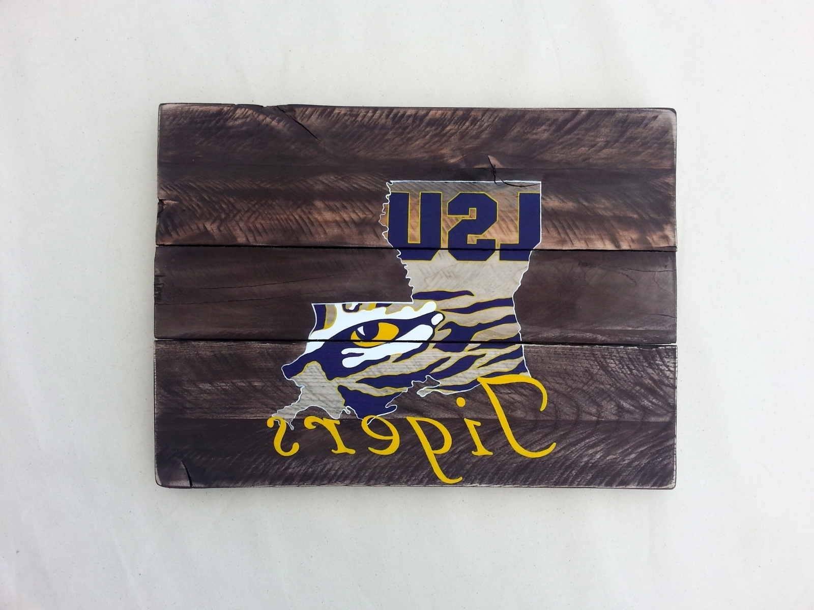 2018 Lsu Wall Art In Lsu Tiger Eye Hand Painted Pallet Art Or Pallet Sign Original (View 1 of 15)