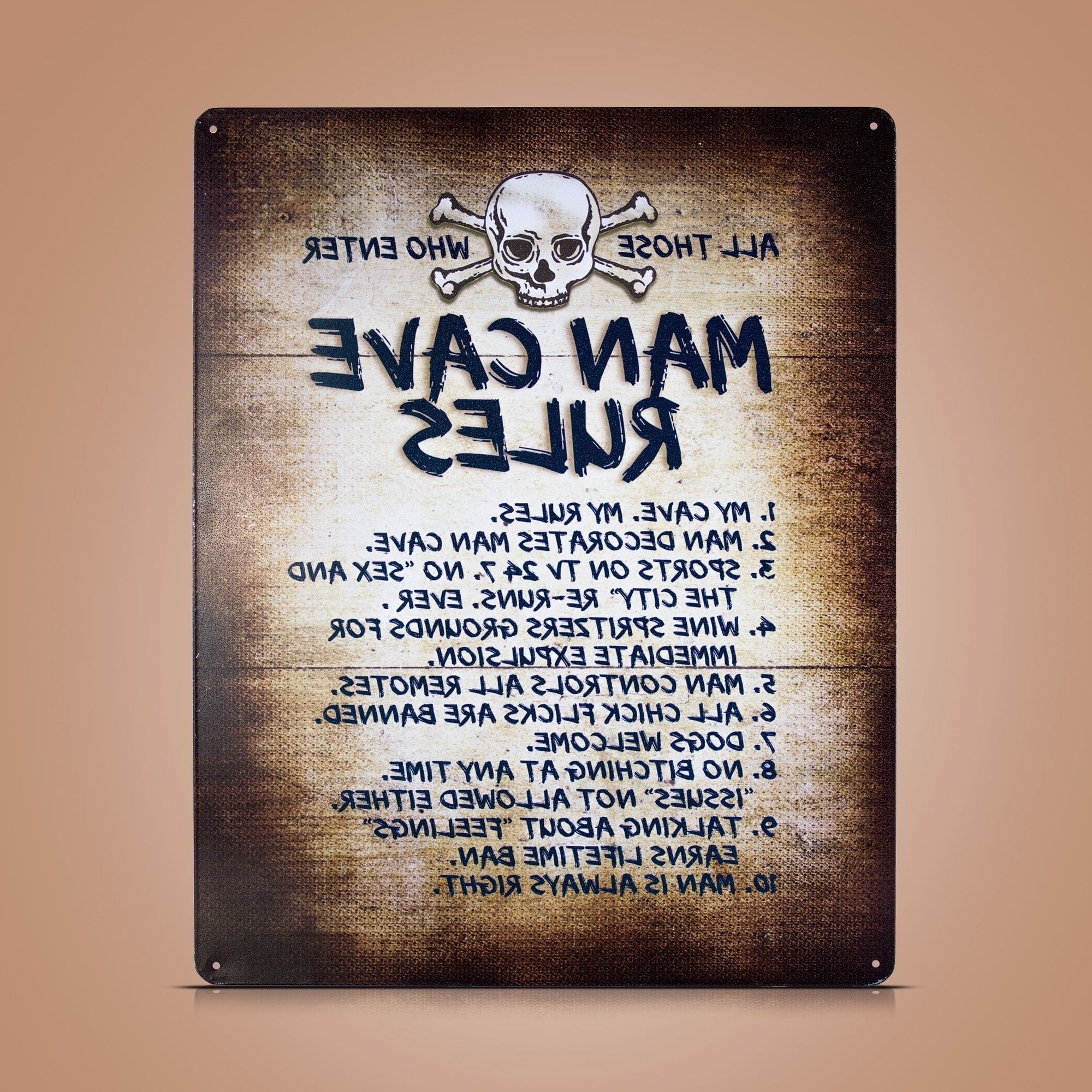 "2018 Man Cave Rules"" Metal Sign Wall Art For Bar Garage – Free Shipping Inside Wall Art For Bar Area (View 15 of 15)"