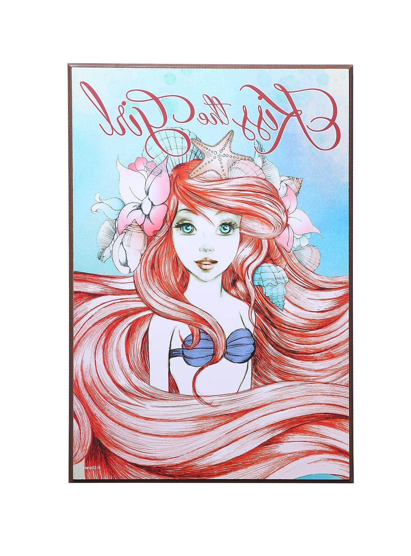 2018 Mermaid Wood Wall Art For Wall Art Decor Ideas: Kiss The Girl Little Mermaid Wall Art Wooden (View 8 of 15)