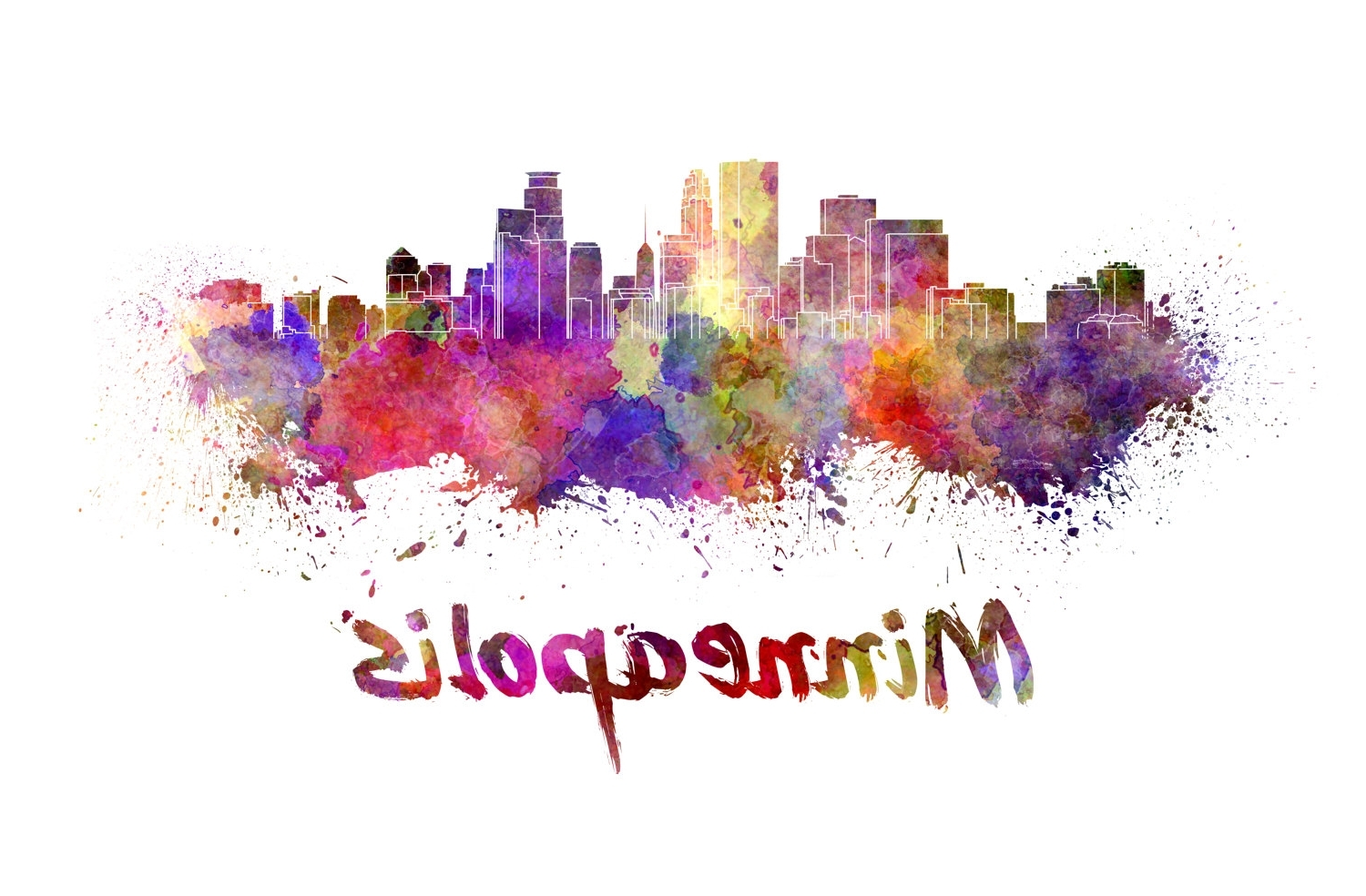 2018 Minneapolis Wall Art Within Minneapolis Skyline Watercolor Canvas, Minneapolis Canvas Print (View 1 of 15)