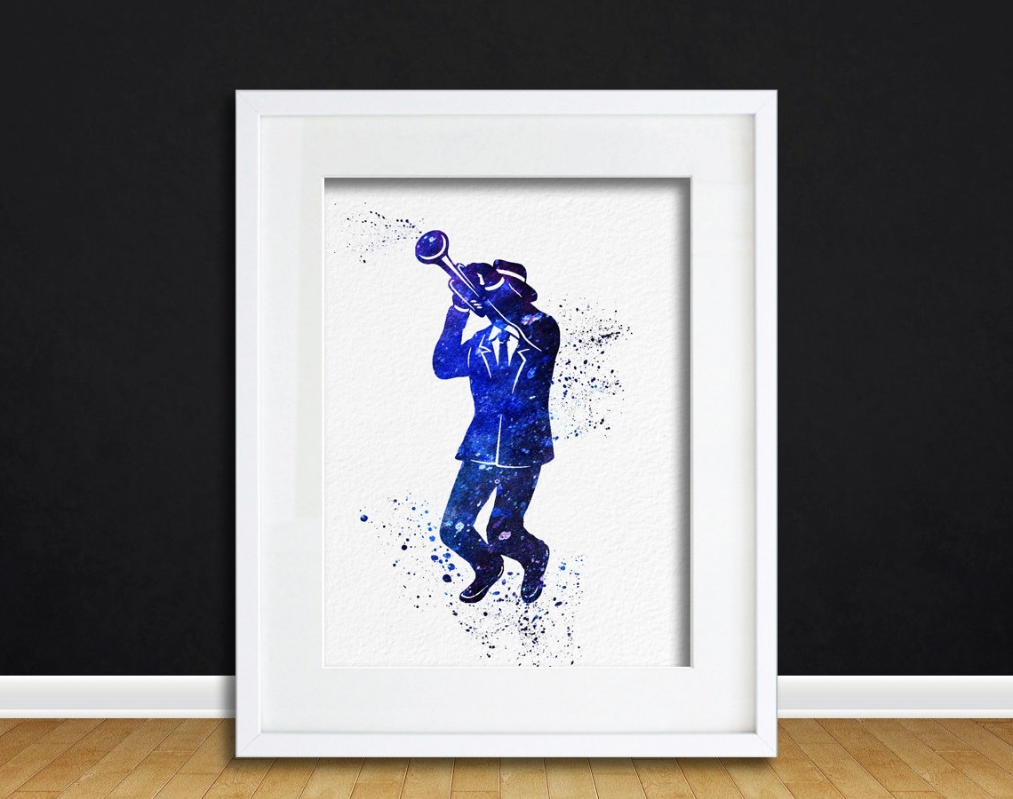 2018 Music Themed Wall Art Within Watercolor Art Print Trumpet Jazz Player Modern 8X10 Wall Art (View 1 of 15)