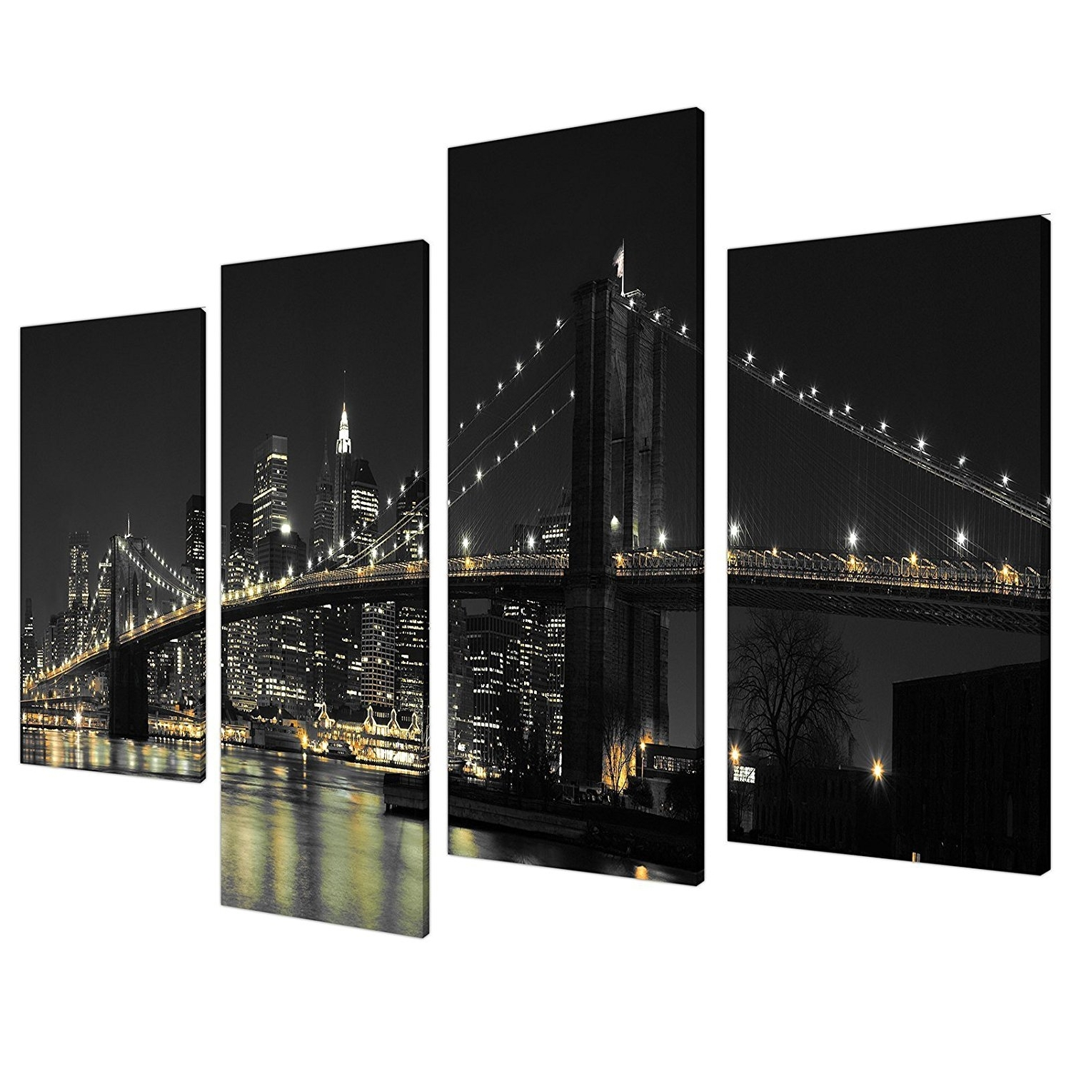 2018 New York Skyline Canvas Black And White Wall Art With Amazon: Large New York City Canvas Wall Art Pictures Of Nyc (View 3 of 15)