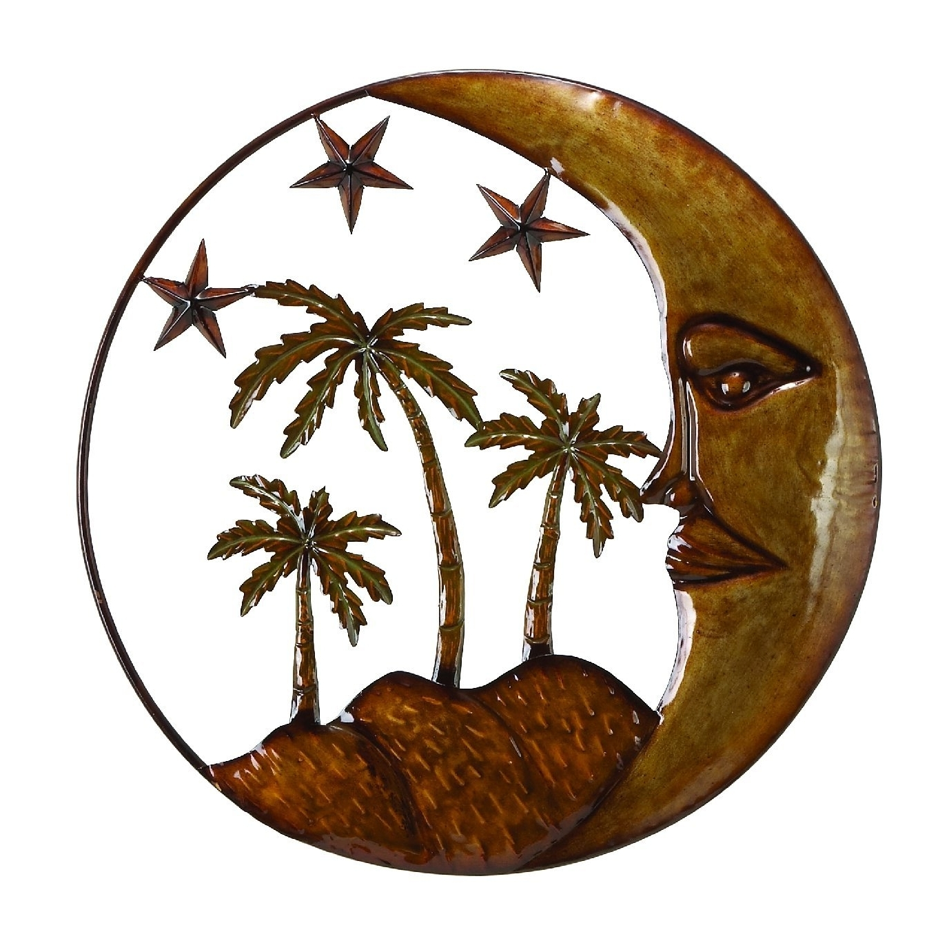 2018 Palm Tree Metal Art With Amazon: Moon Star Palm Tree 21 Wrought Iron Metal Wall (View 1 of 15)