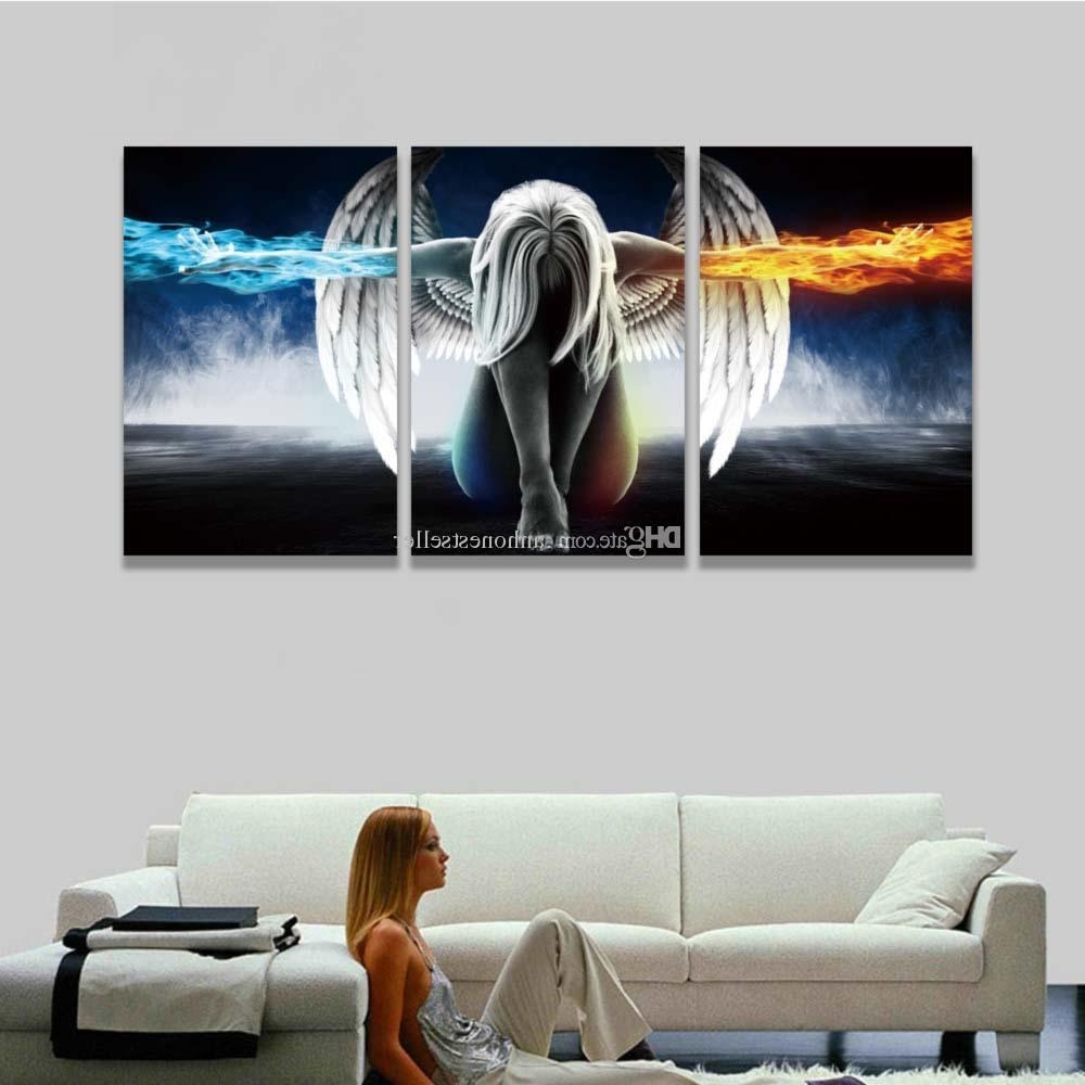 2018 Printed 3 Panel Canvas Wall Art Angel Wings Painting Pertaining To Famous Three Piece Canvas Wall Art (View 4 of 15)