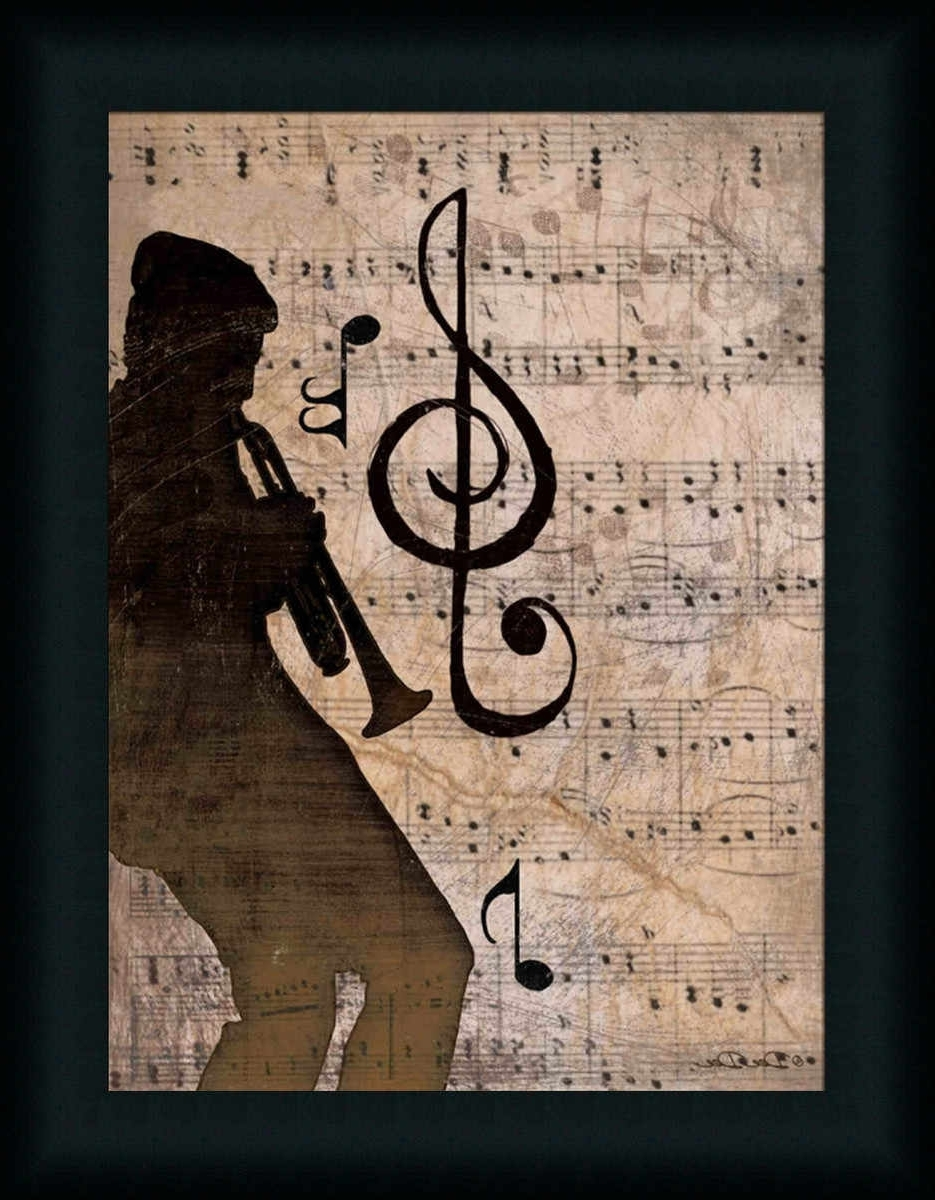 2018 Rhythm Ii Vintage Music Notes Trumpet Art Print Framed (View 1 of 15)