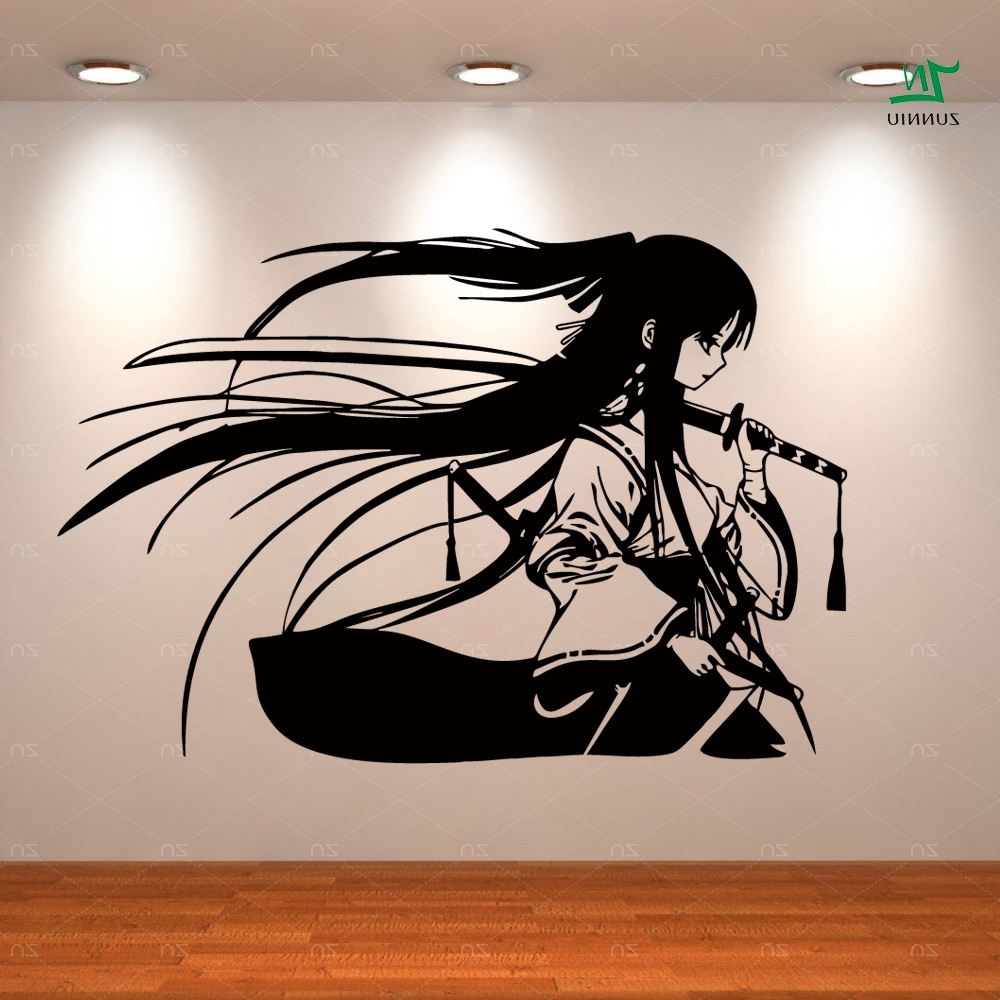 2018 Samurai Wall Art Inside Samurai Geisha Japanese Katana Swords Anime Decorative Vinyl Wall (View 12 of 15)