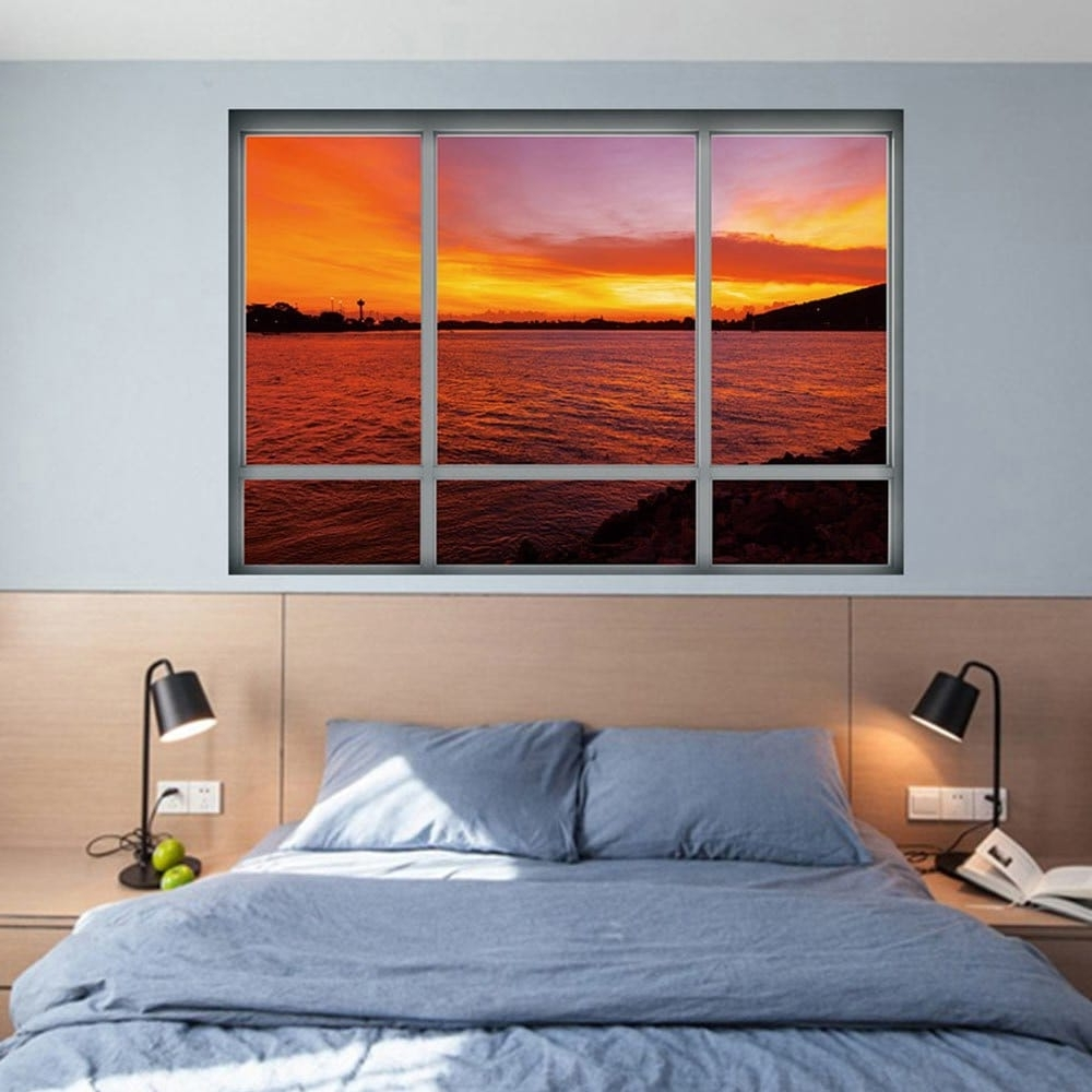 2018 Sea Sunset Window Removable 3D Wall Art Sticker Dark Auburn Regarding Popular Auburn Wall Art (View 10 of 15)