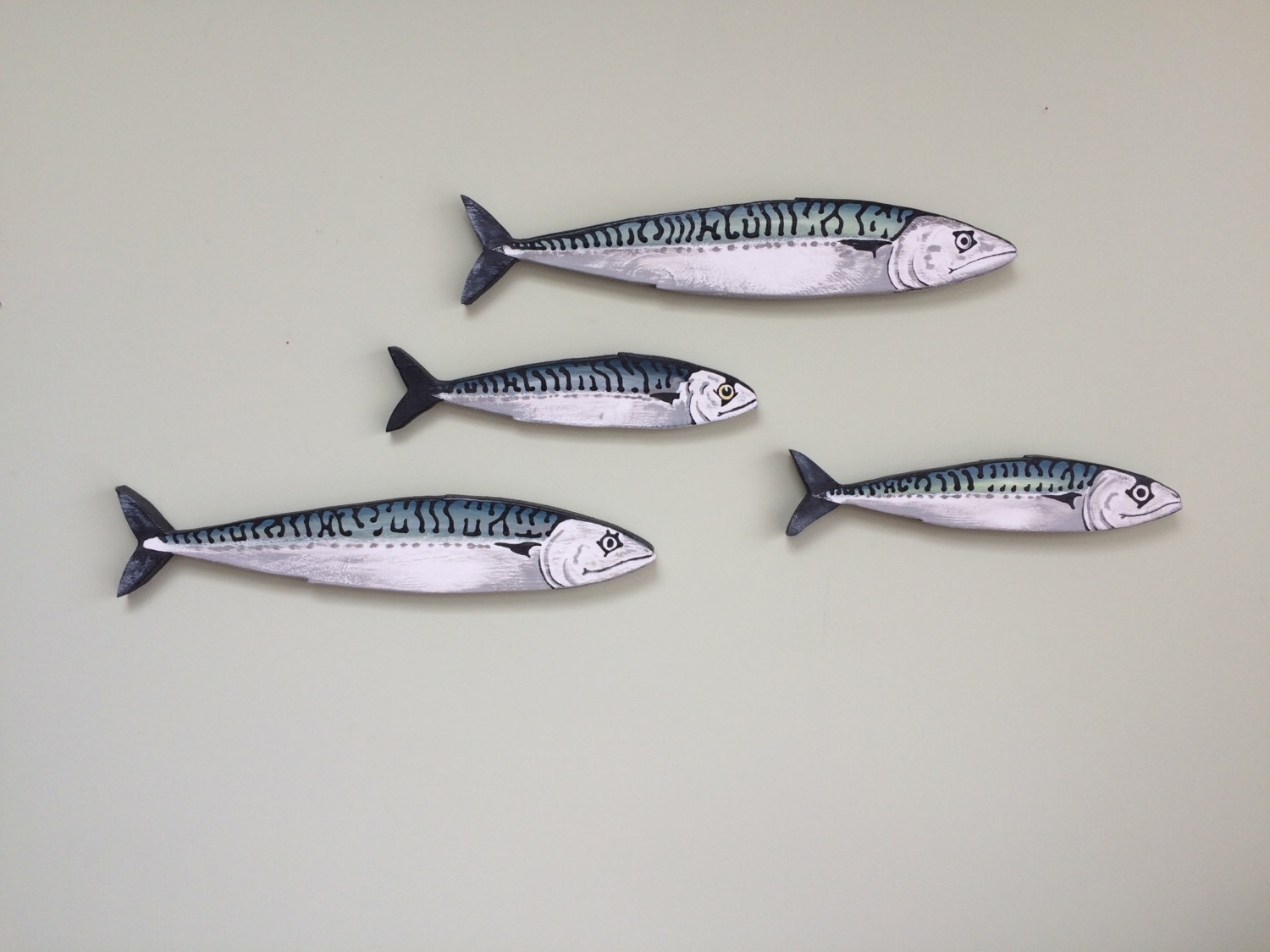 2018 Shoal Of Fish Metal Wall Art With Regard To Mackerel Fish Wall Art Hangings – Shoal – 4 Fish (View 1 of 15)