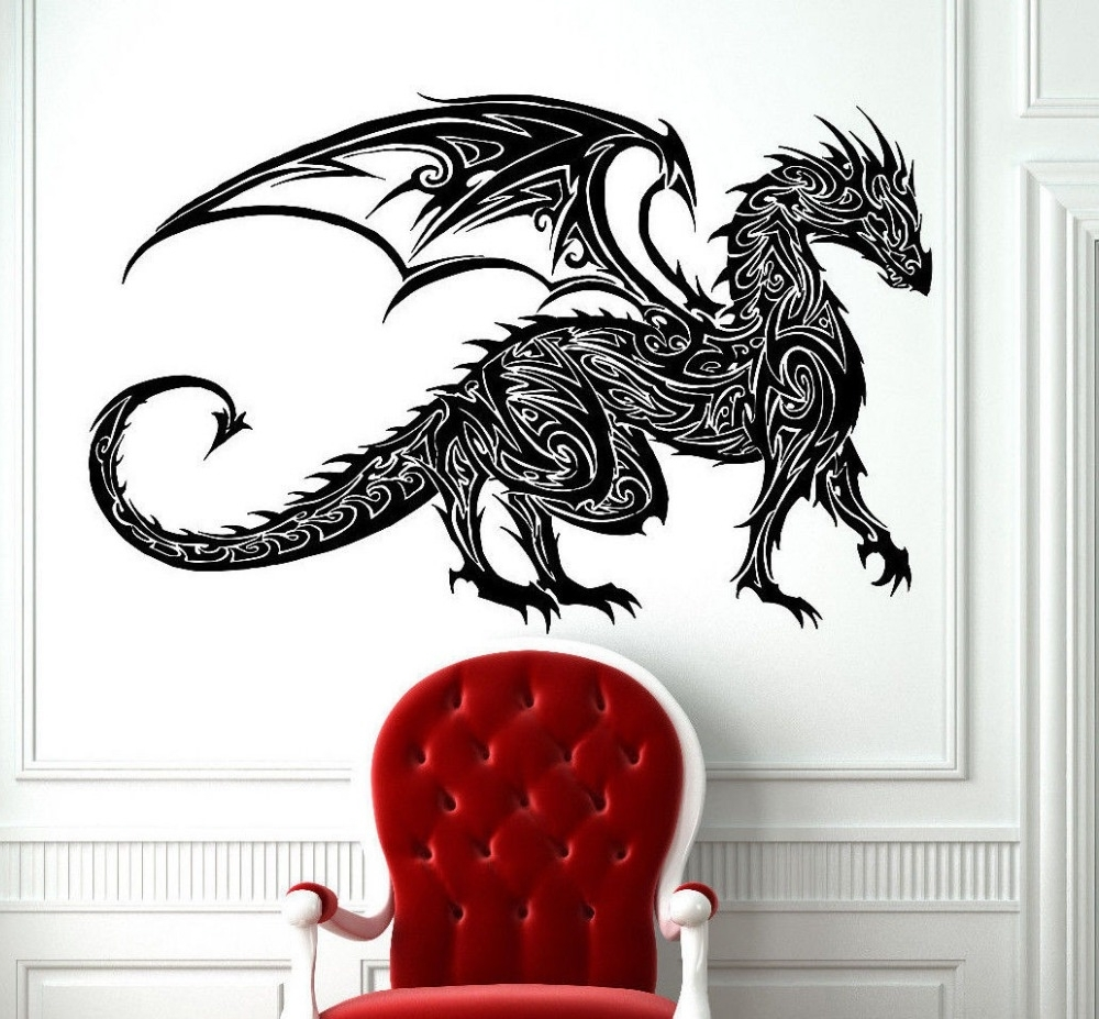 2018 Tattoo Wall Art Throughout Tribal Tattoo Classic Chinese Dragon Wall Decal Sticker Decor Wall (View 7 of 15)